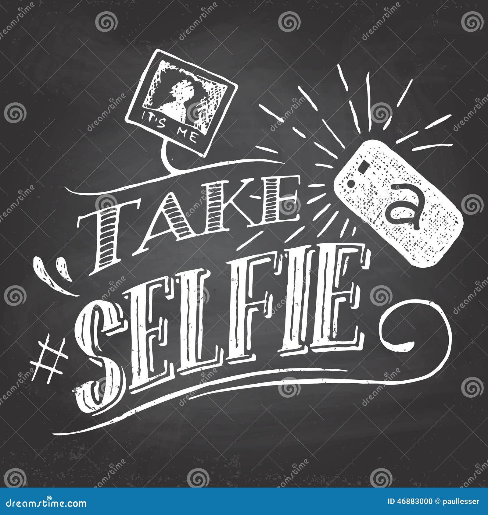 Nehmen Sie ein selfie auf Tafel