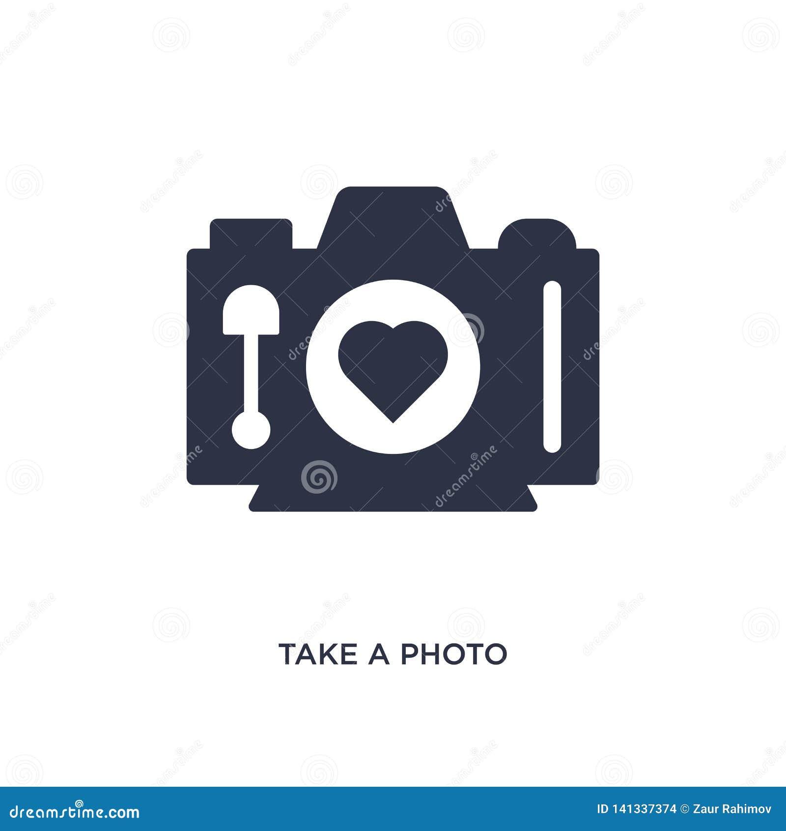 Nehmen Sie eine Fotoikone auf weißem Hintergrund Einfache Elementillustration von der Liebe u. von Heiratskonzept