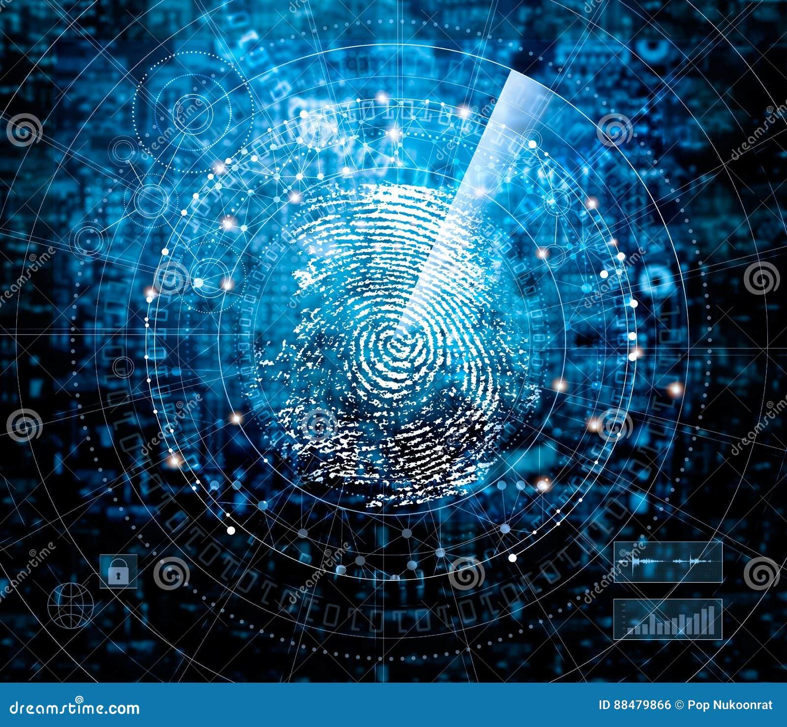 Nehmen Sie von Scannen und Suchen Identität auf blauer Cybertechnologie Fingerabdrücke