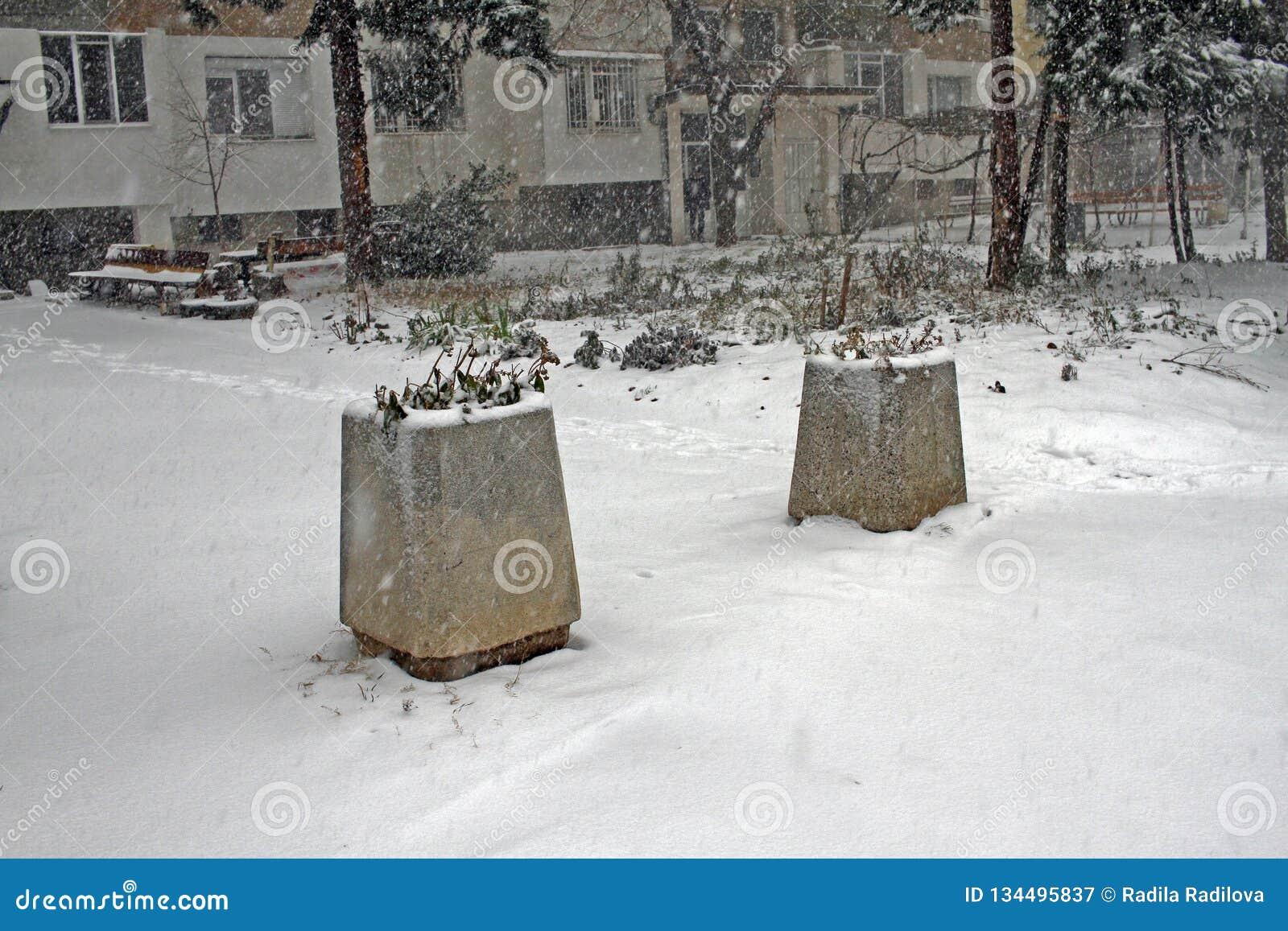 Neige d hiver Chute de chute de neige importante dans la ville Neige et glace non nettoyées blizzard