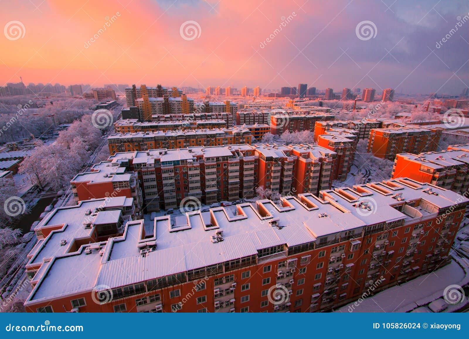 Neighborhood community snow and sunrise