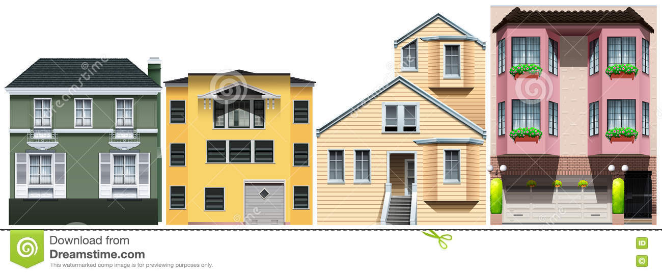 Neighborhood With Different Styles Of Houses Stock Vector Image