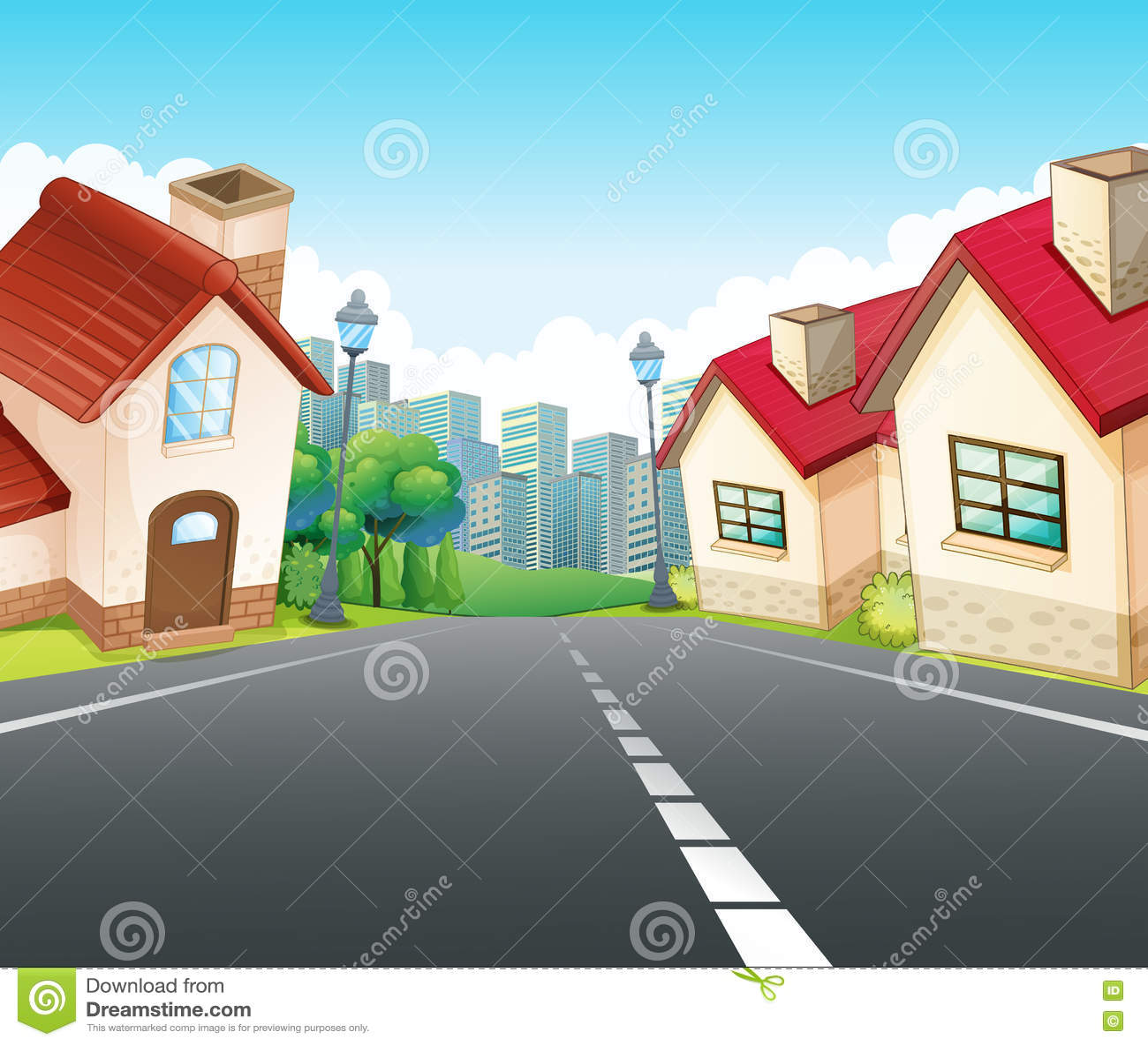 Neighborhood Scene With Many Houses Along The Road Stock