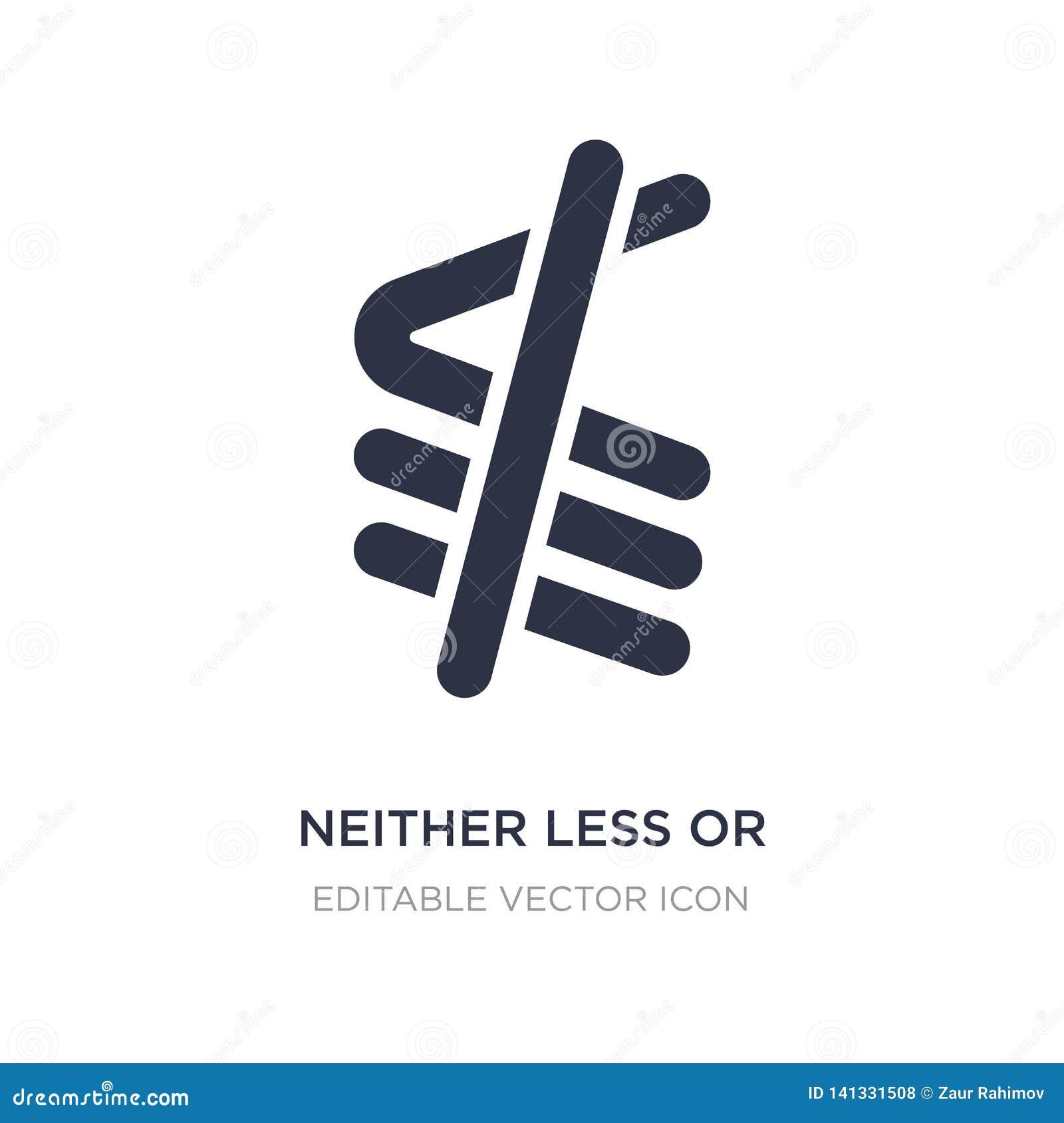 Neither mniej lub dokładnie dorówna ikonę na białym tle Prosta element ilustracja od znaka pojęcia