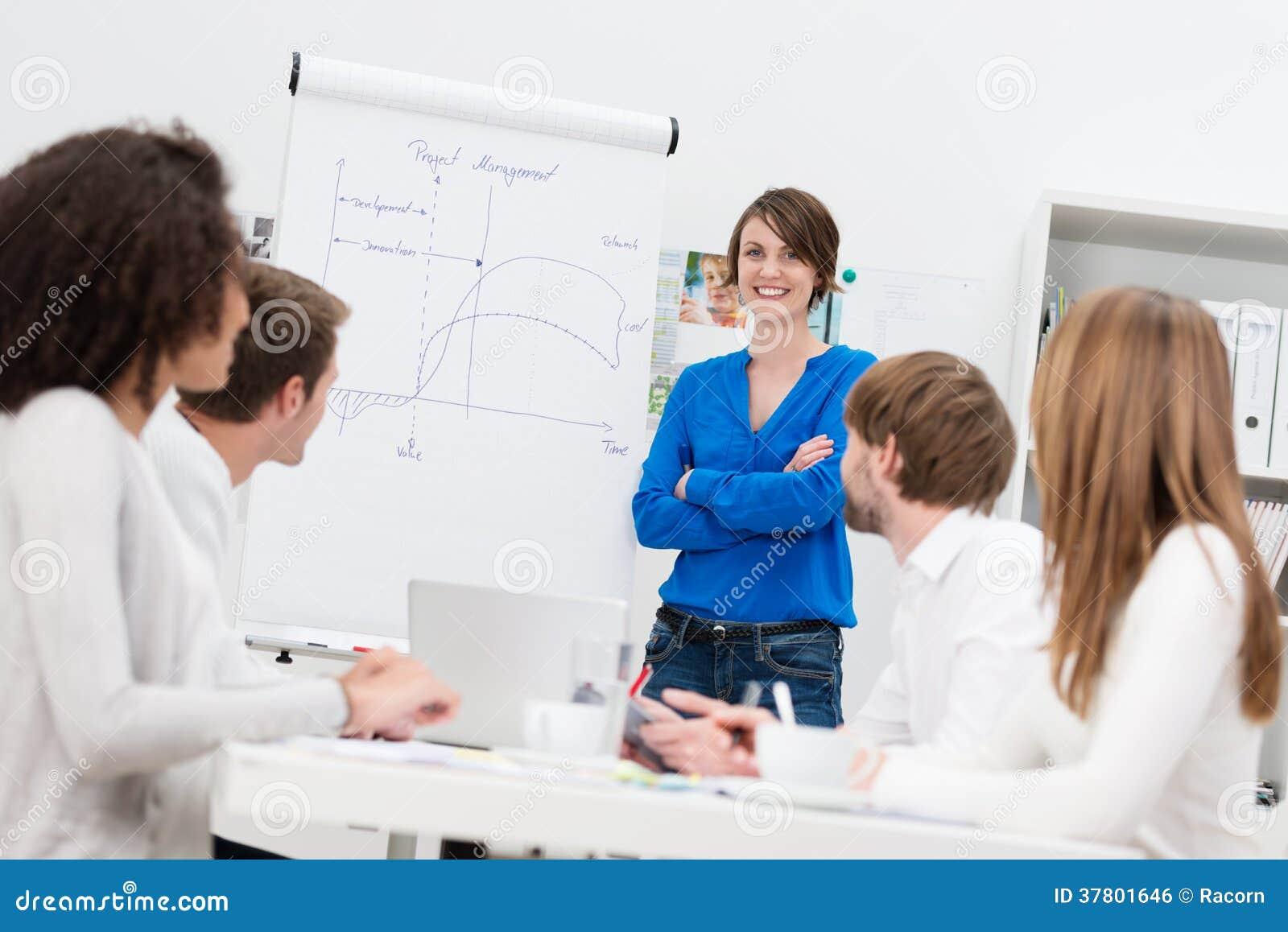 Nell istruttore corporativo della casa che dà una presentazione