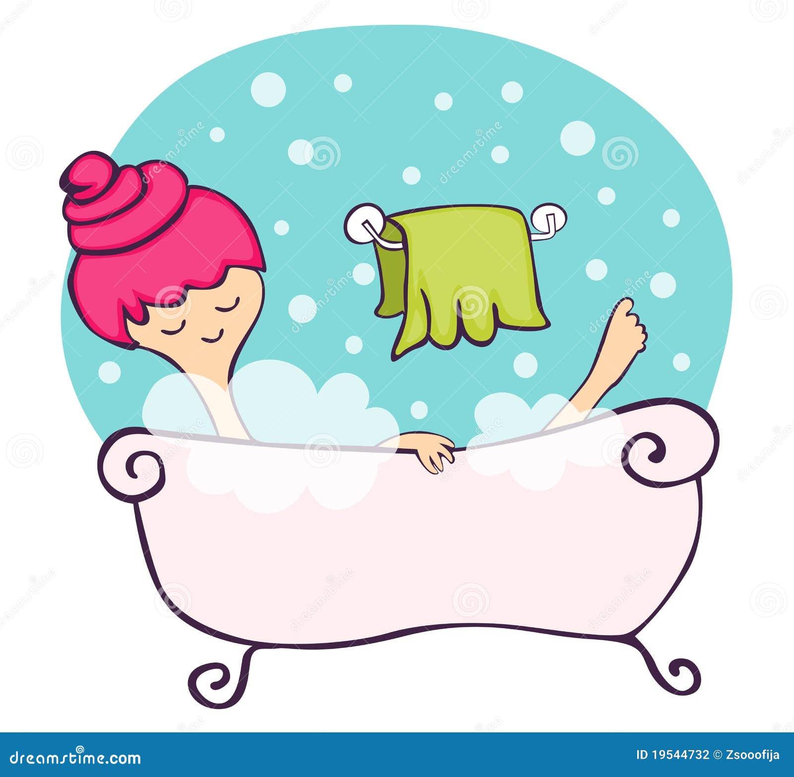 Nella vasca da bagno illustrazione vettoriale. Immagine di benessere - 19544732