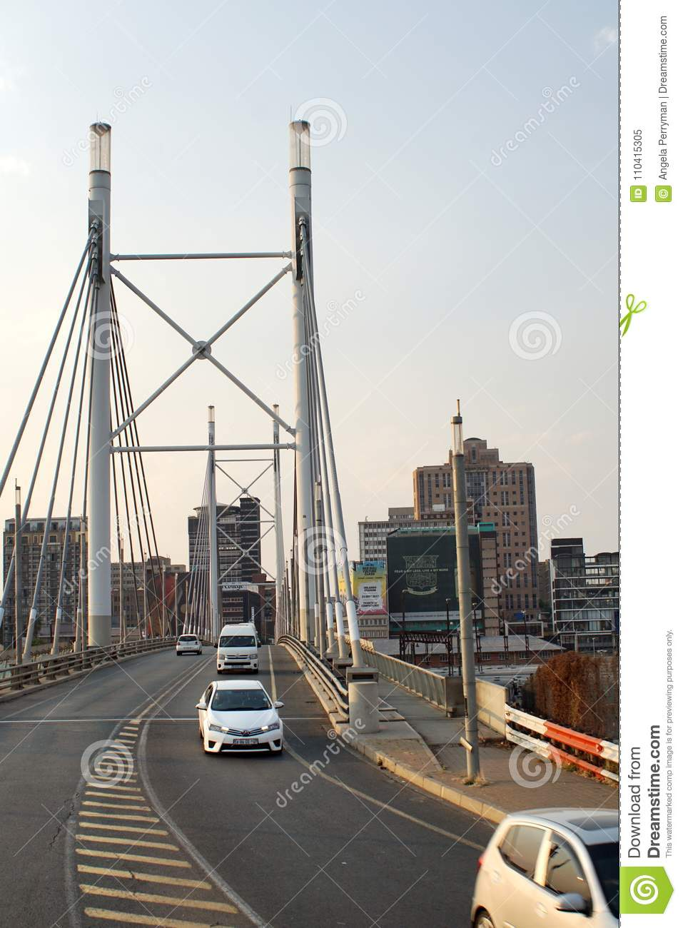 Nelson Mandela Bridge Into Braamfontein Editorial Image ...