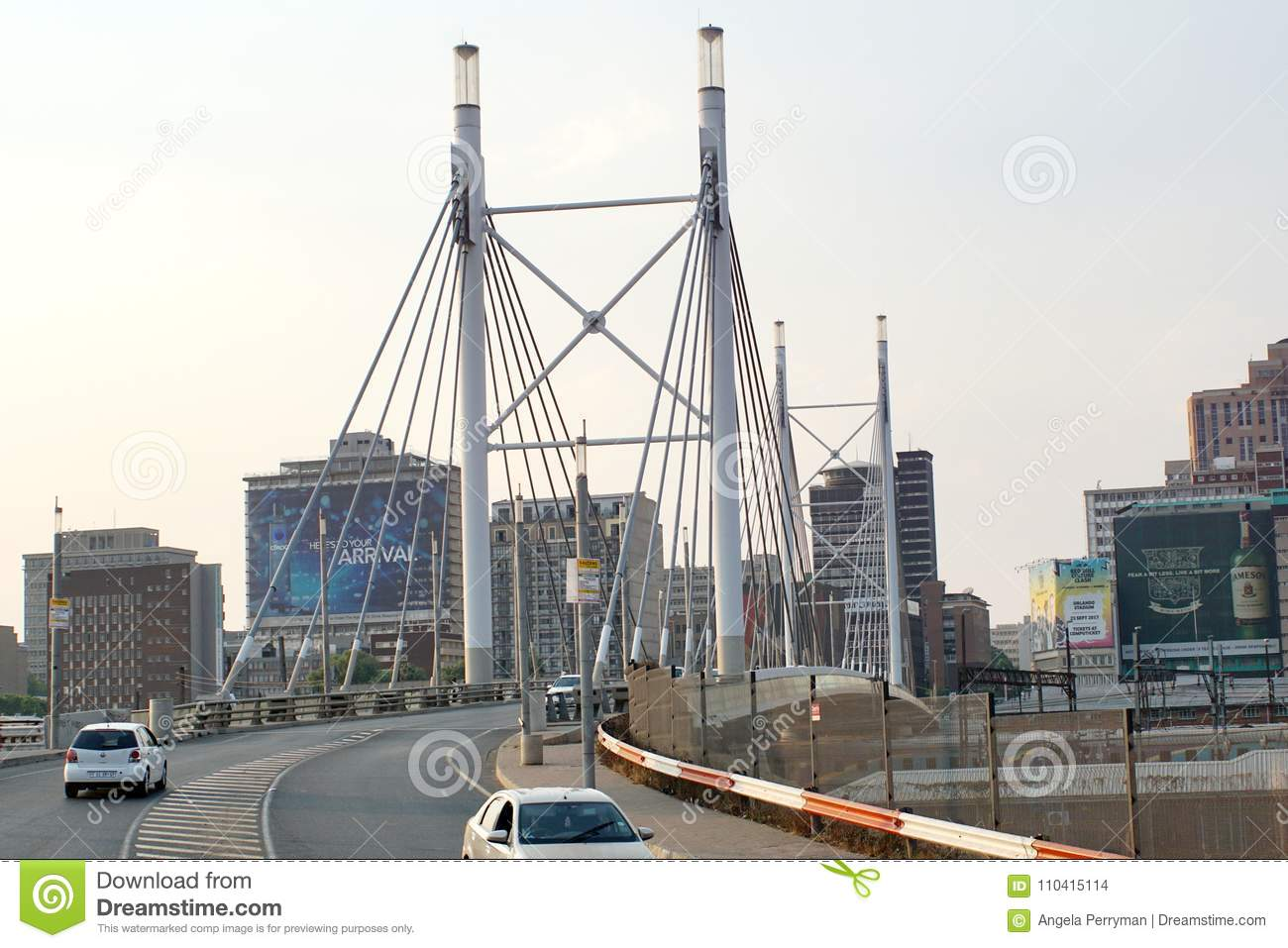 Nelson Mandela Bridge Into Braamfontein Editorial Stock ...