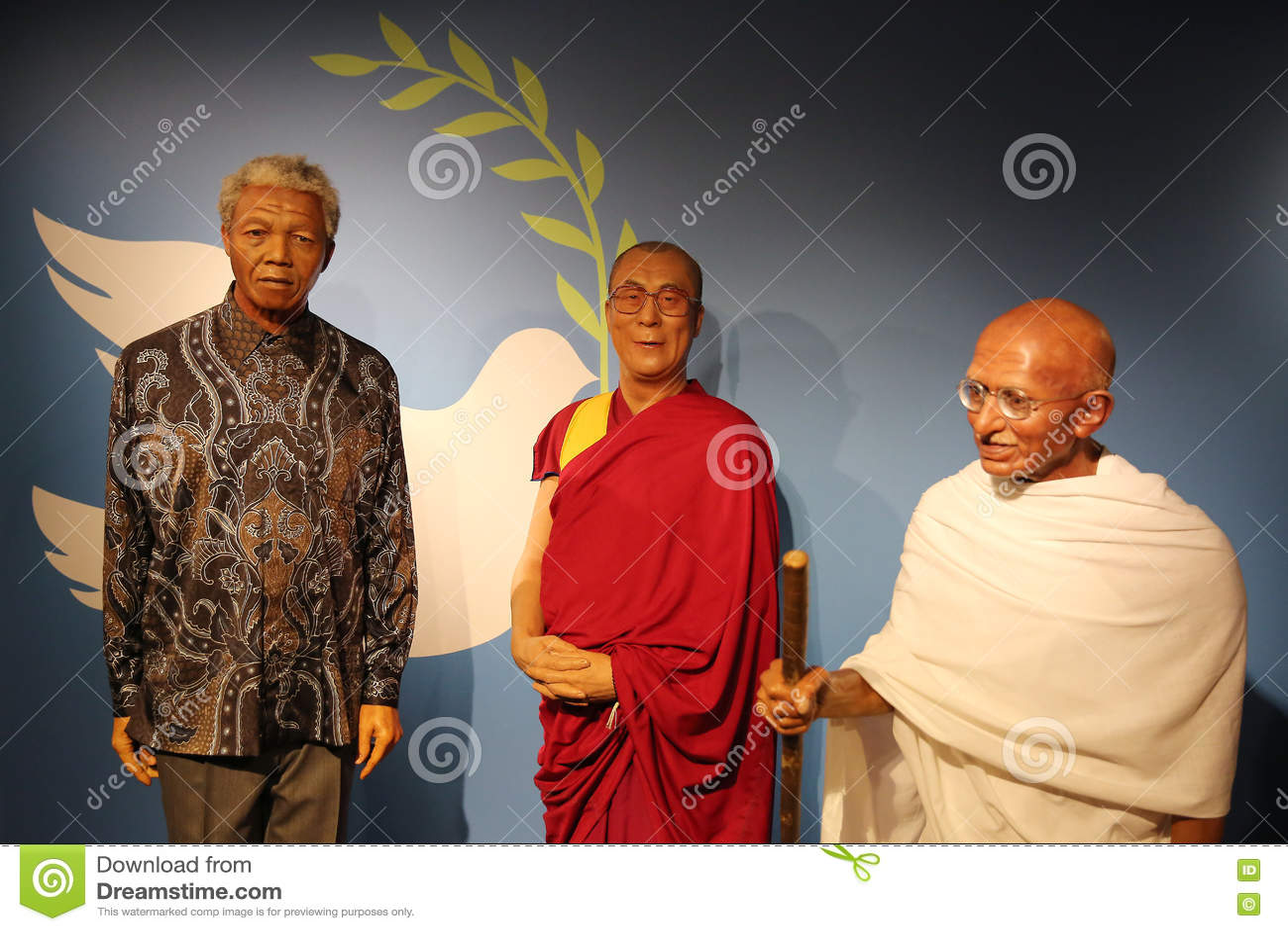 Museo Delle Cere Amsterdam.Nelson Mandela Dalai Lama And Mahatma Gandhi Wax Statues Editorial