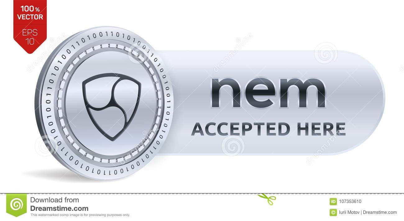 Nem accepted sign emblem 3d isometric physical coin with frame 3d isometric physical coin with frame and text accepted here cryptocurrency buycottarizona