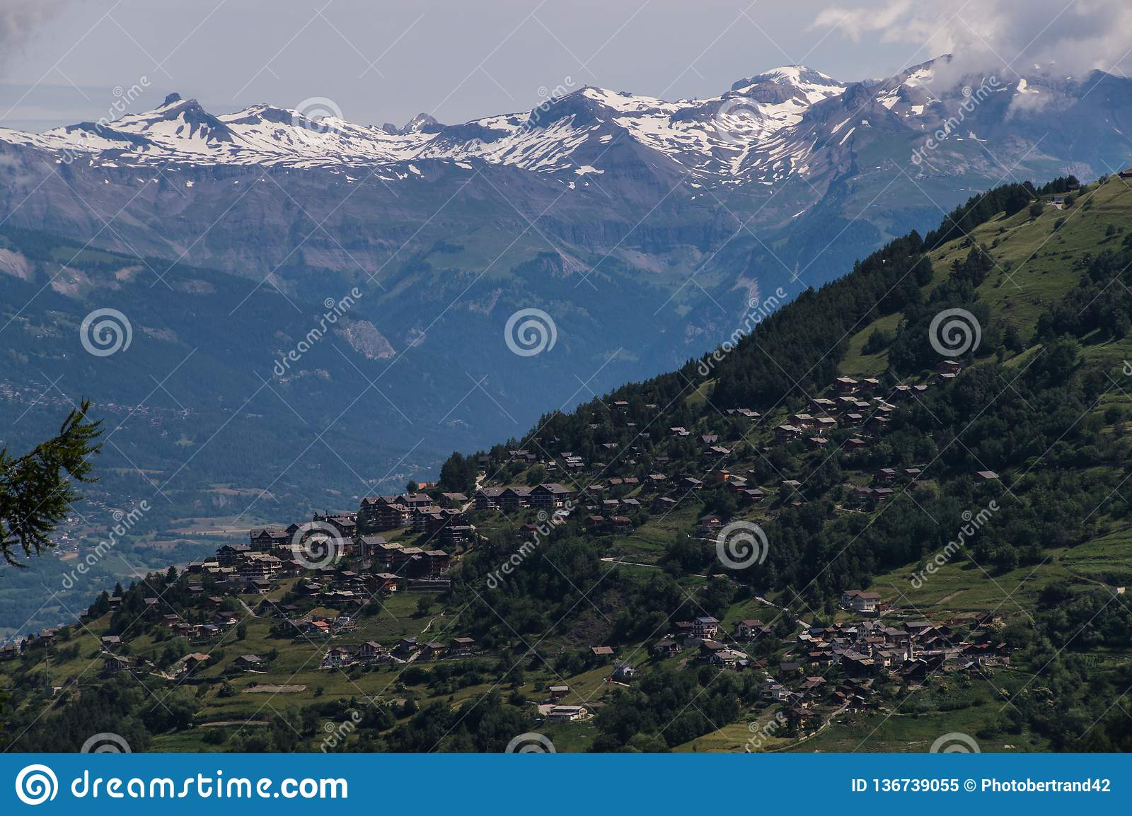 Village in the Swiss Alps in Valais