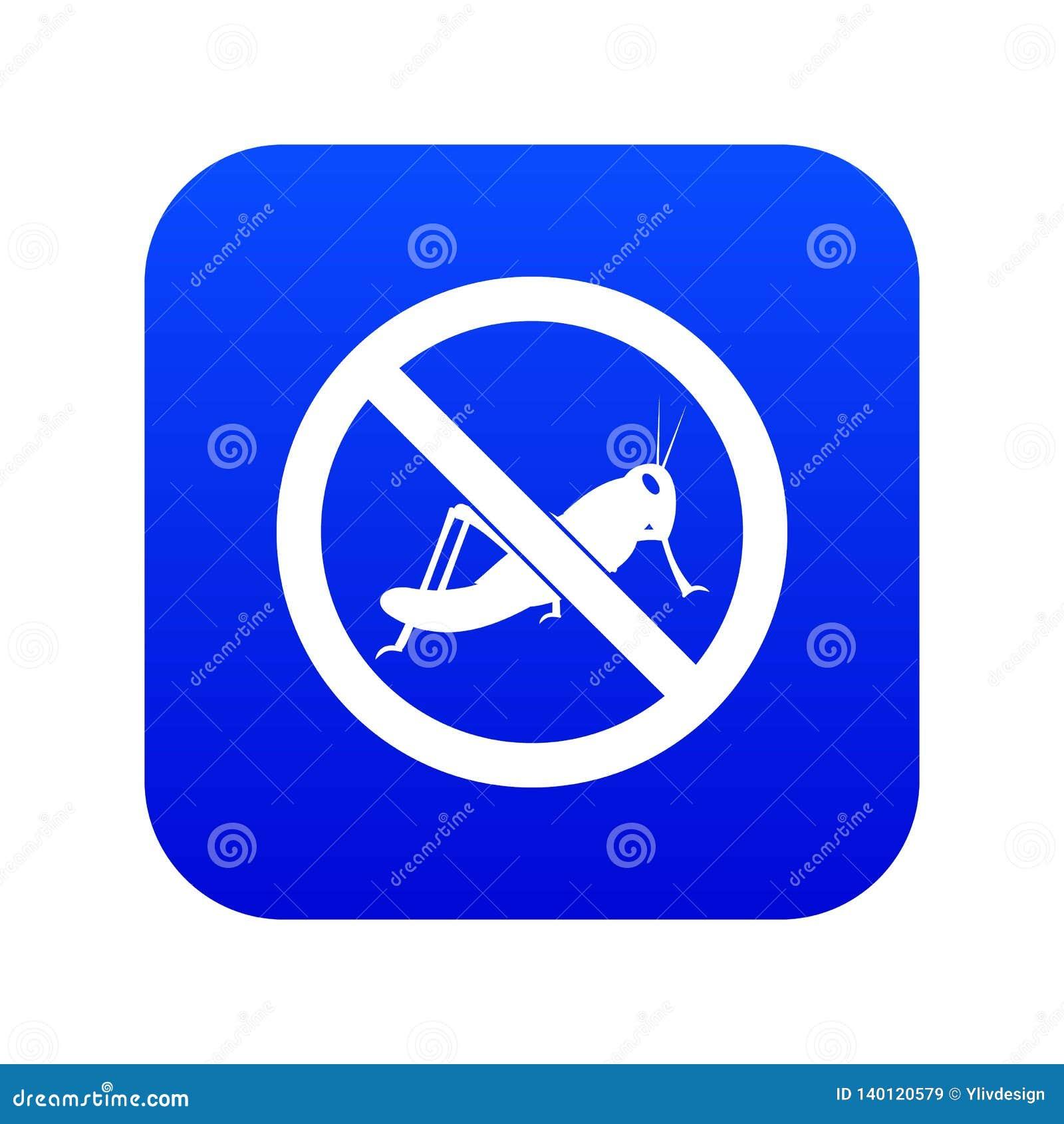 Nenhum azul digital do ícone do sinal dos locustídeo