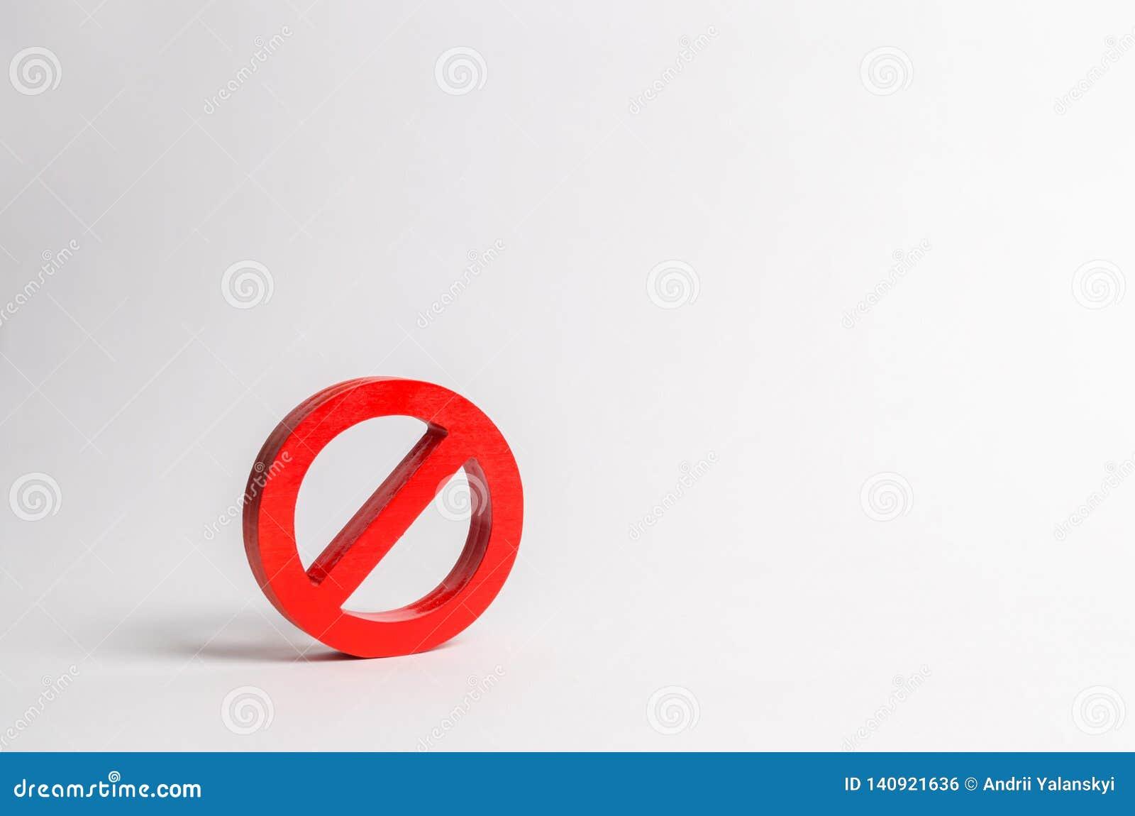 Nenhum sinal ou nenhum símbolo minimalism O conceito da proibição e da limitação Censura, controle sobre o Internet