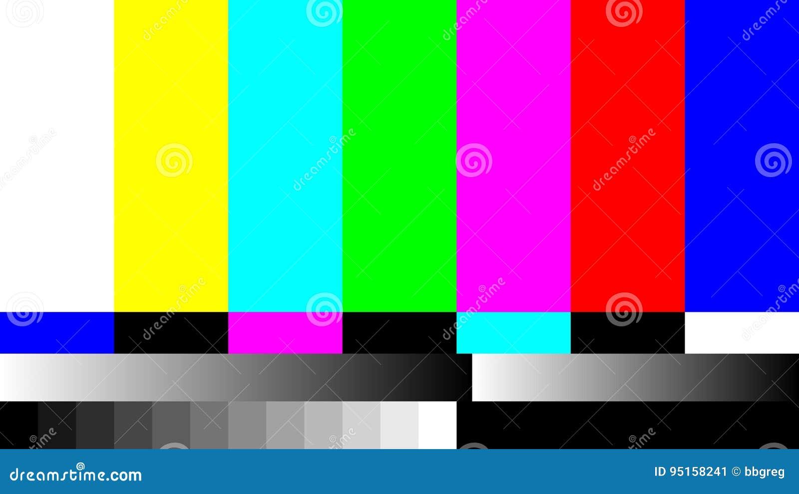 Nenhum teste padrão de teste retro da televisão da tevê do sinal A cor RGB barra a ilustração