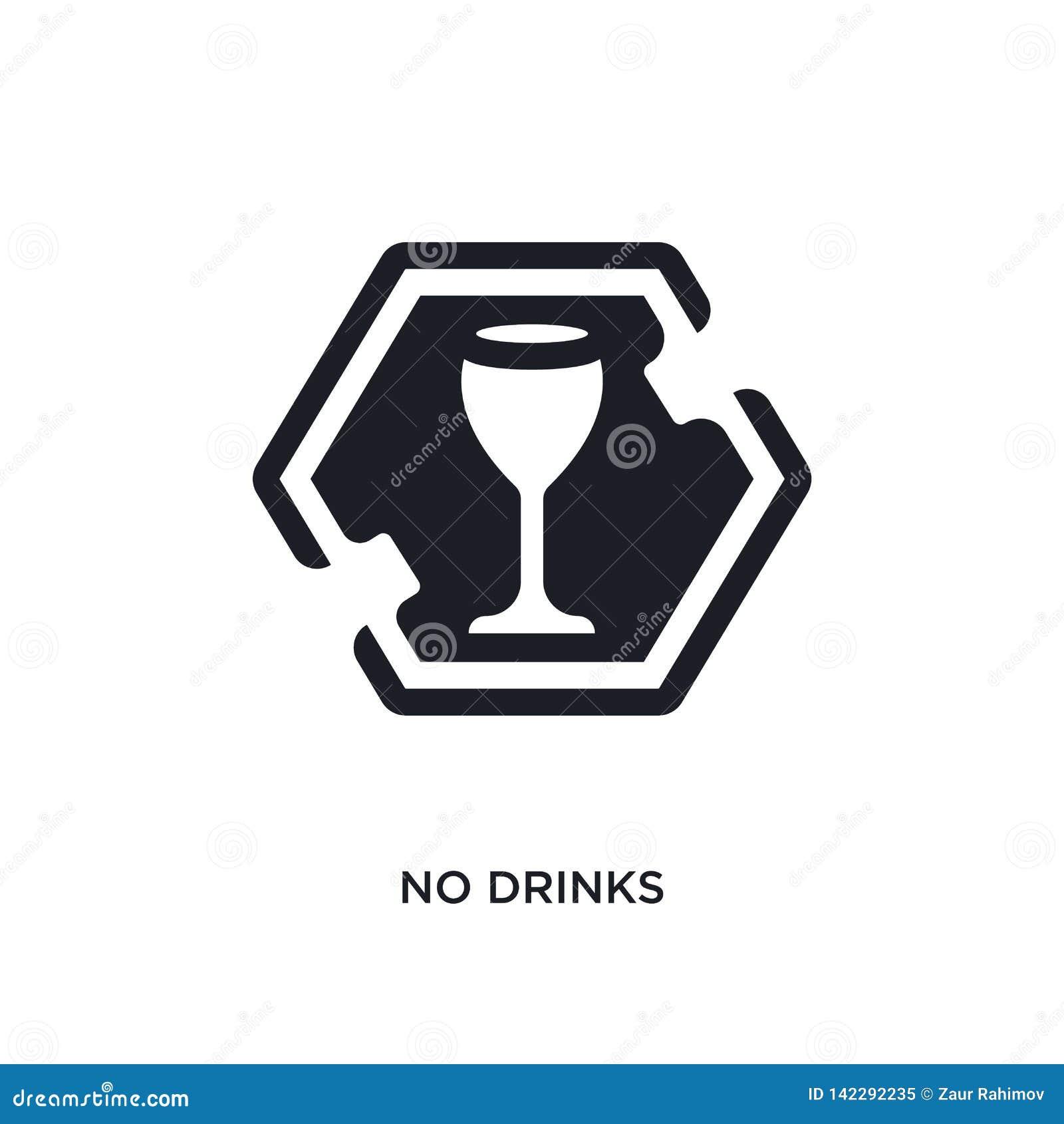 Nenhuma bebida isolou o ícone ilustração simples do elemento dos ícones do conceito dos sinais não projeto editável do símbolo do