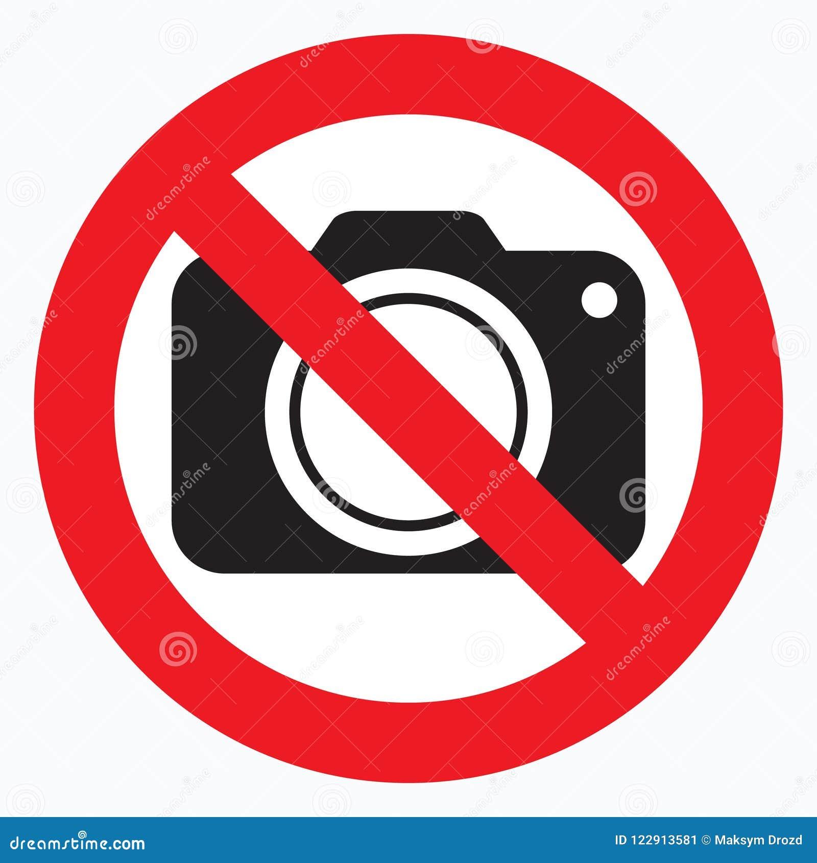 Nenhumas câmeras permitidas o sinal Proibição vermelha nenhum sinal da câmera Nenhumas imagens de tomada, nenhum sinal das fotogr