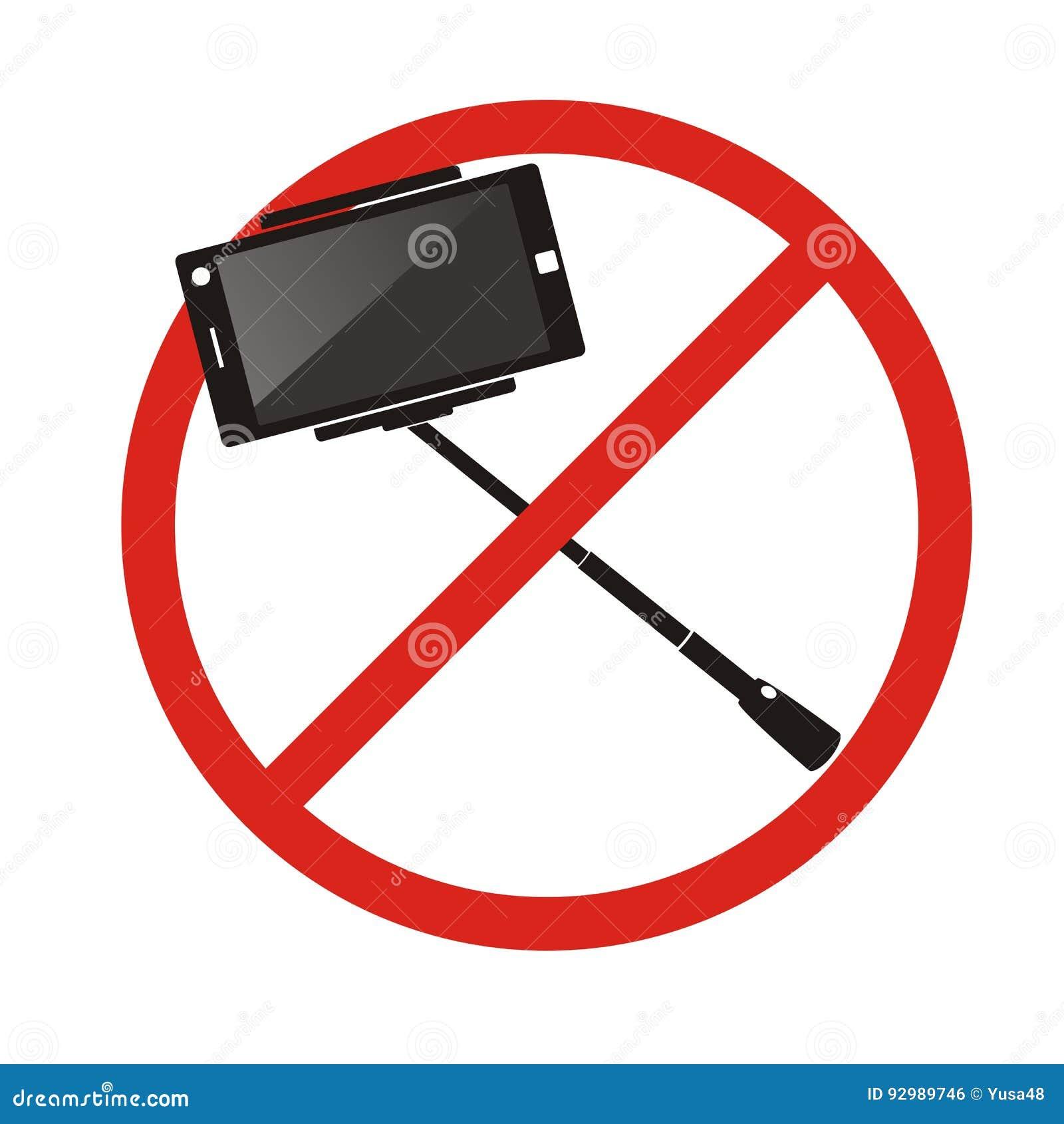 Nenhumas varas do selfie Não use o sinal proibido selfie do monopod