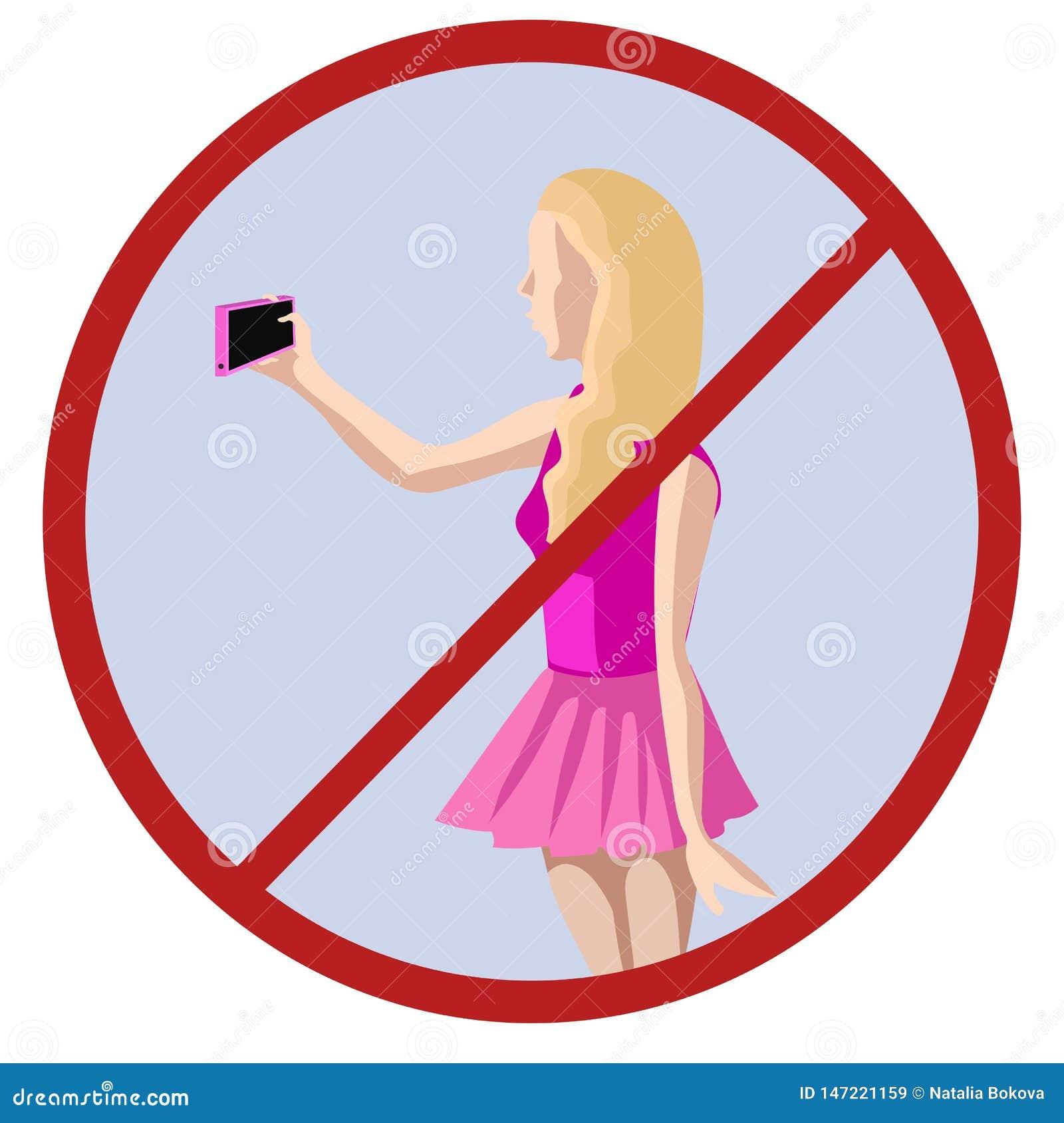 Nenhuns selfies, mulher que toma a imagem ela mesma do vetor