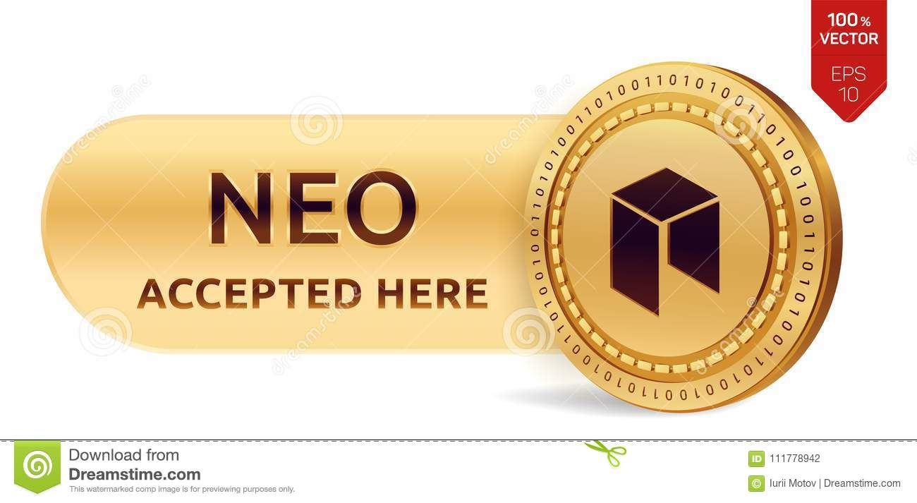 NEO accepted sign emblem. 3D isometric Physical coin with frame and text Accepted Here. Cryptocurrency. Golden coin with NEO symbo