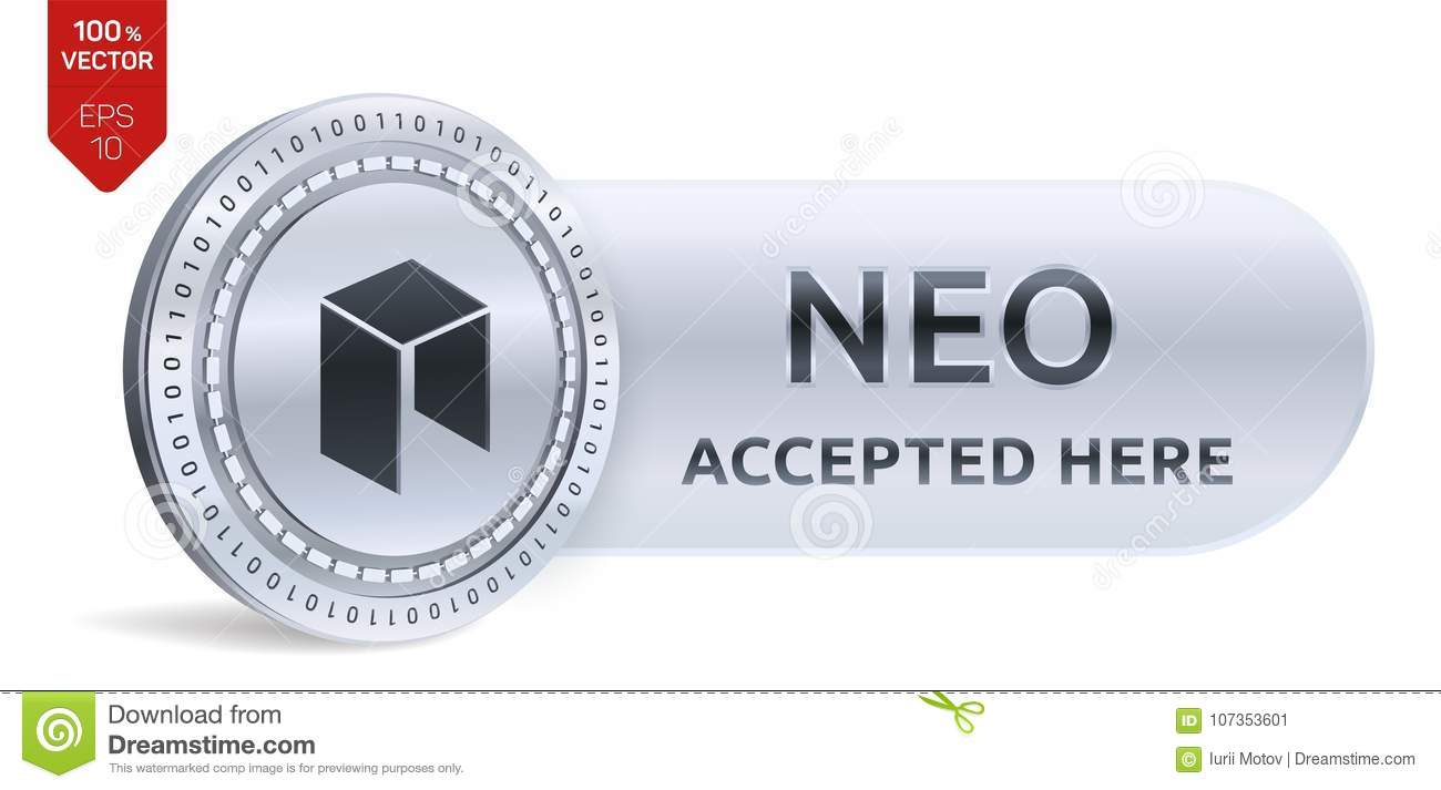 Neo accepted sign emblem 3d isometric physical coin with frame 3d isometric physical coin with frame and text accepted here cryptocurrency buycottarizona