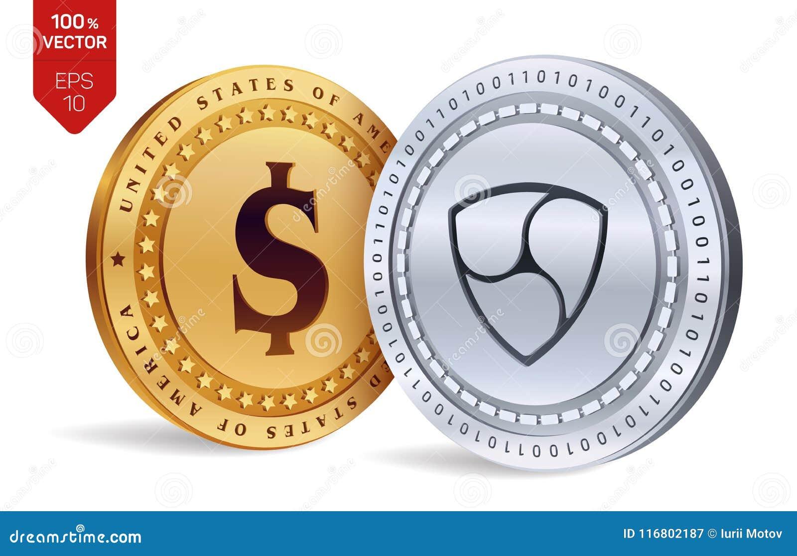 Neo Moneta del dollaro monete fisiche isometriche 3D Valuta di Digital Cryptocurrency Monete dorate e d argento con neo e