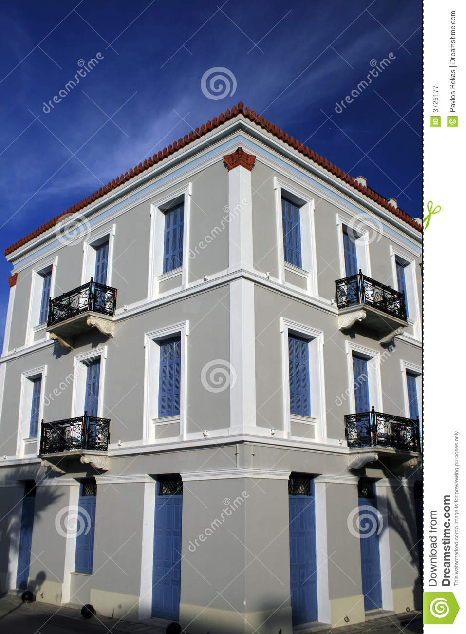 Neoclassical house nauplio greece royalty free stock for Neoclassical house