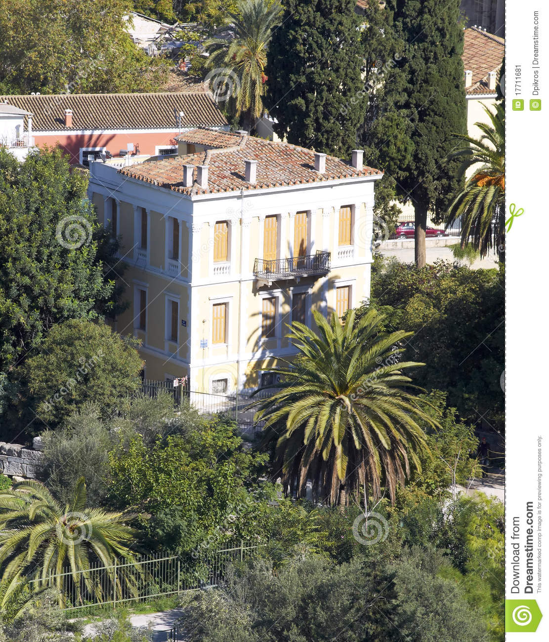 Neoclassical house under acropolis plaka athens stock for Neoclassical house