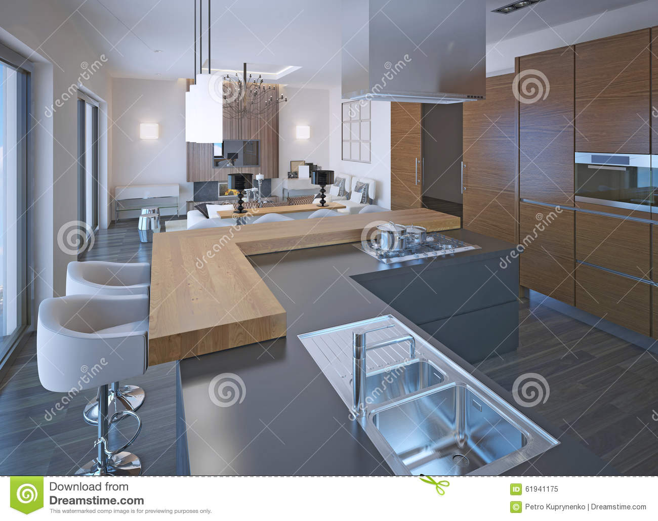 Neoclassical kitchen design stock image cartoondealer for Kitchen designs that stand the test of time