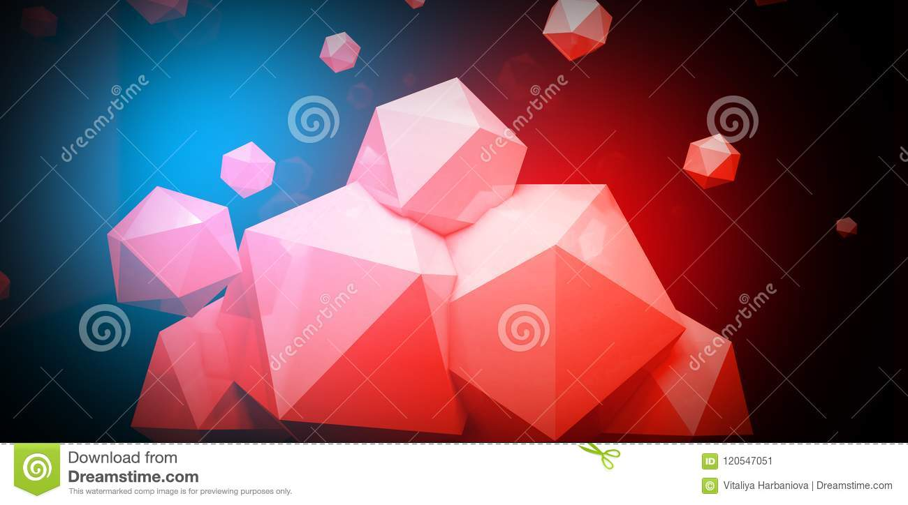 3d Render Abstract Background With A Polygon Neon Light