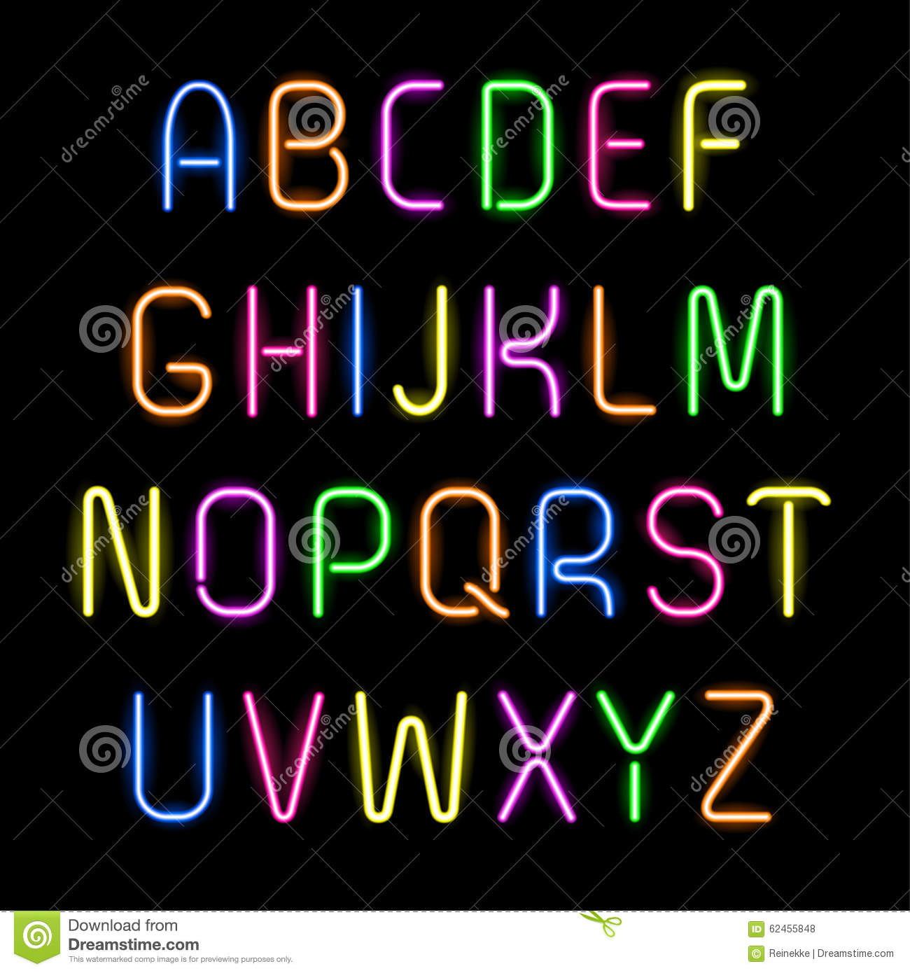 Neon Alphabet Stock Vector Image Of Sign Black Lamp
