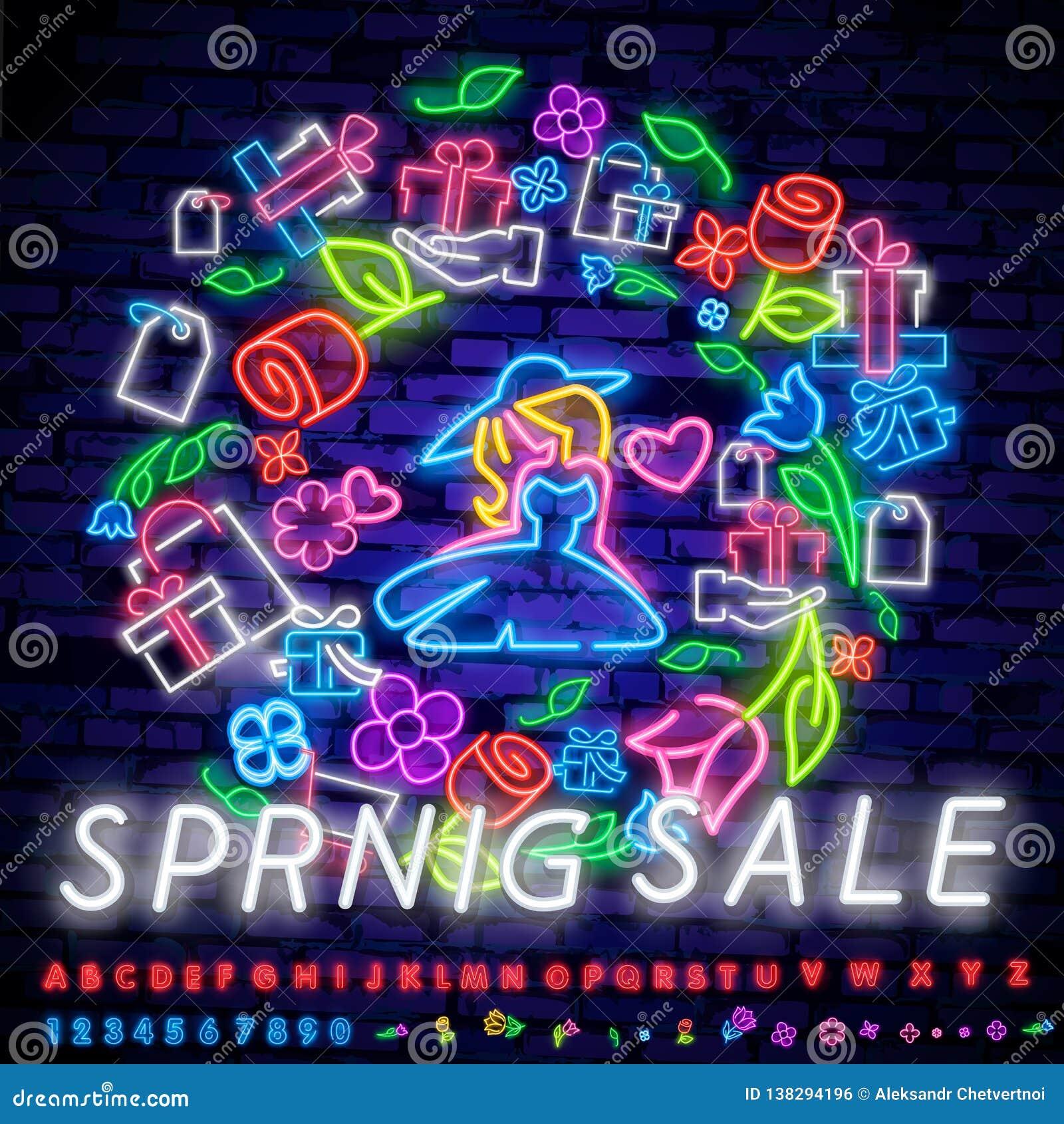 Neon alphabet and Spring Sale in flower frame over brick background. Spring sale, seasonal goods, store emblem. Spring concept.