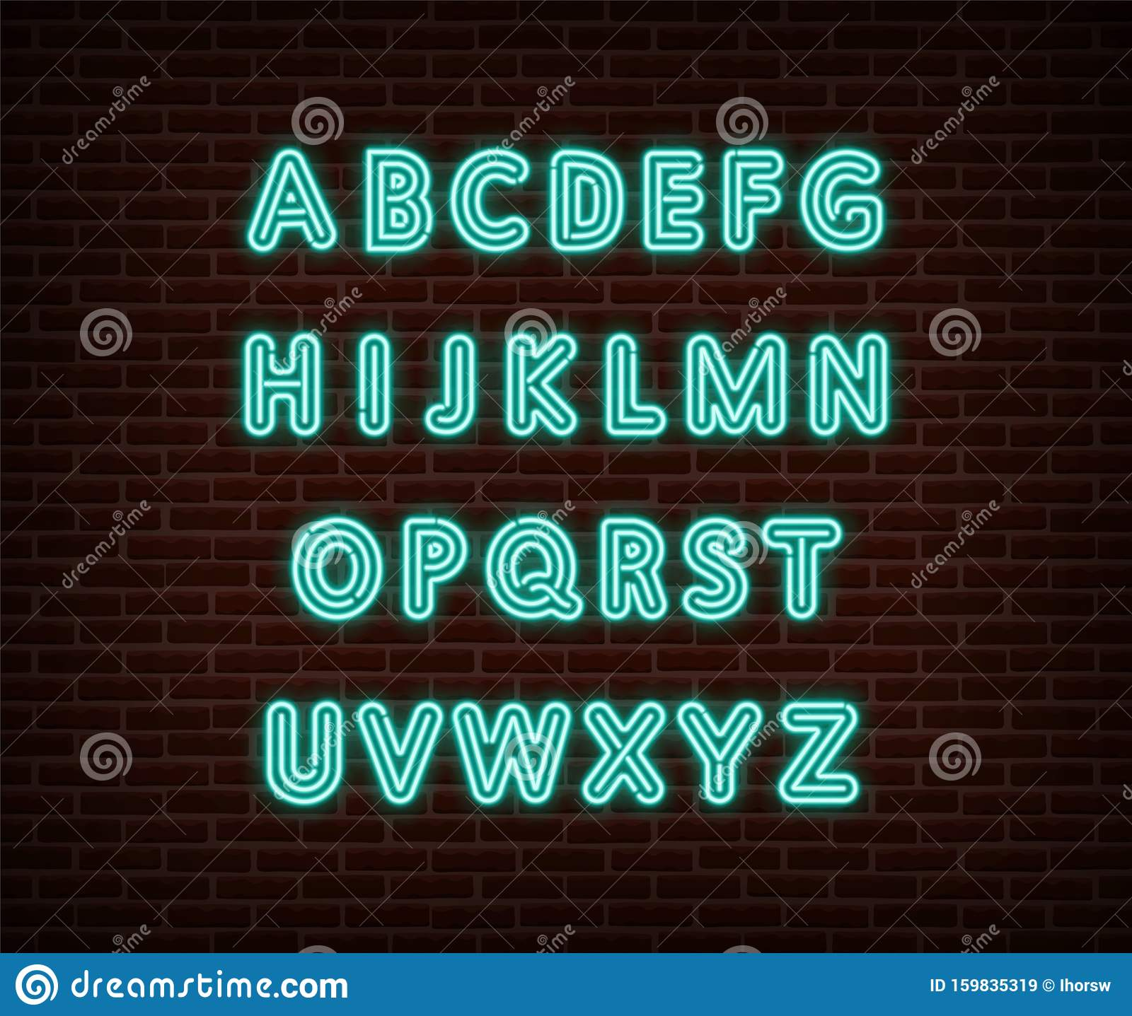 Neon Alphabet Type Font Vector Isolated On Brick Wall. ABC ...