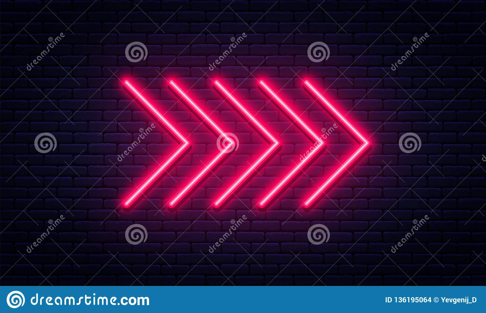 Neon arrow sign. Glowing neon arrow pointer on brick wall background. Retro signboard with bright neon tubes