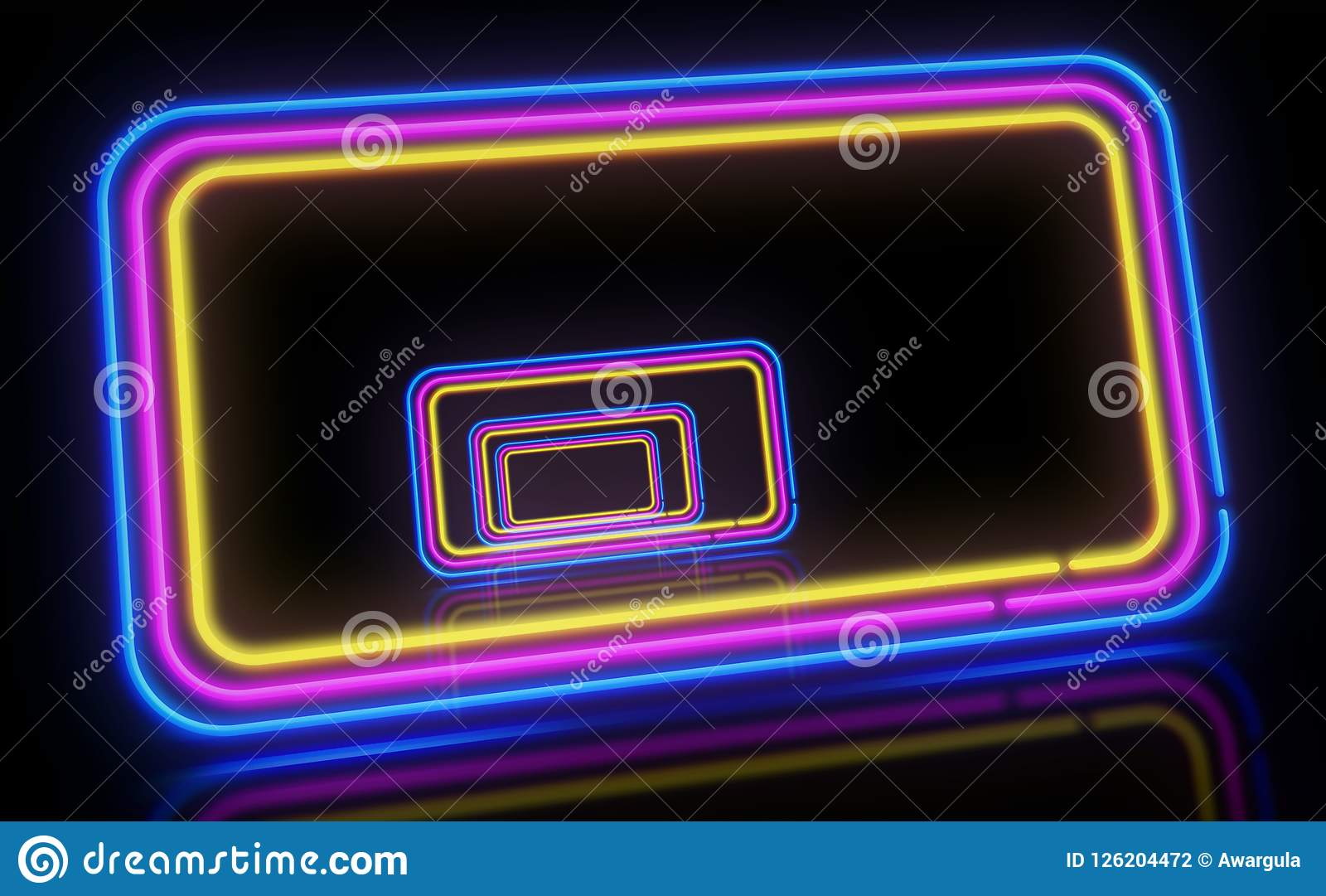 Neon background 3d illustration. Concept of light frames in retro style.