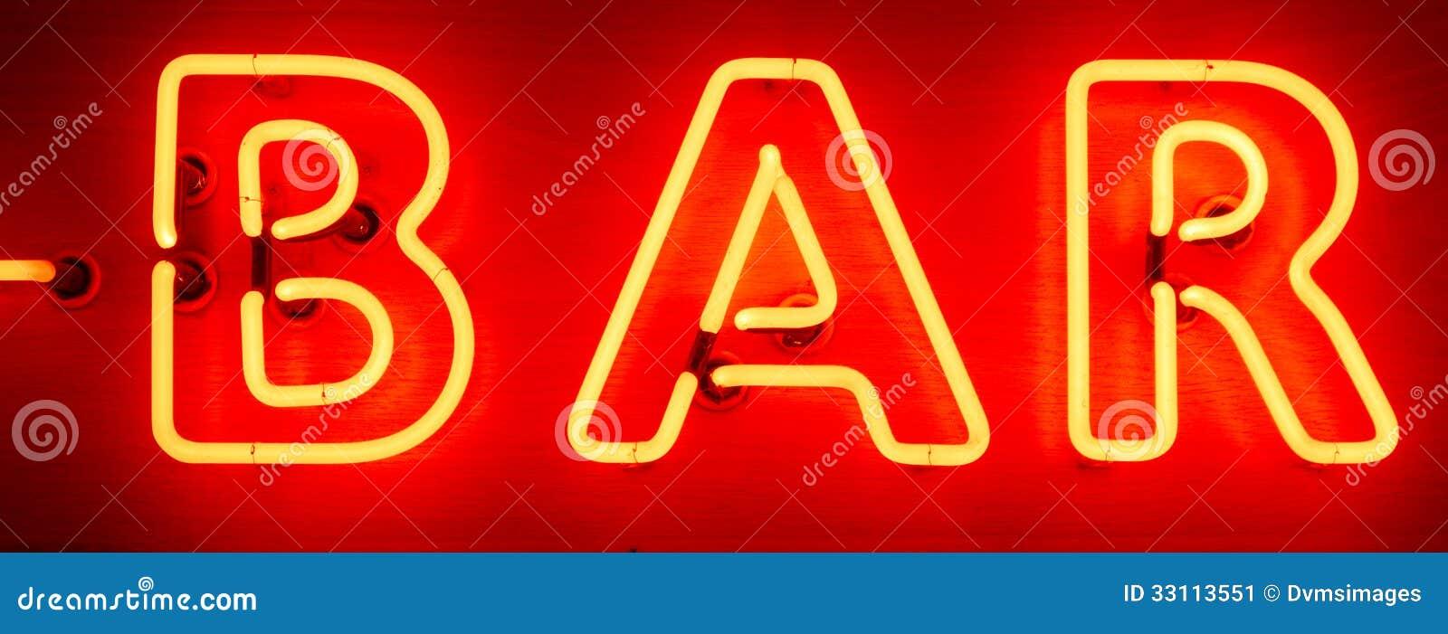 Neon Bar Sign stock image. Image of illuminated, lighting