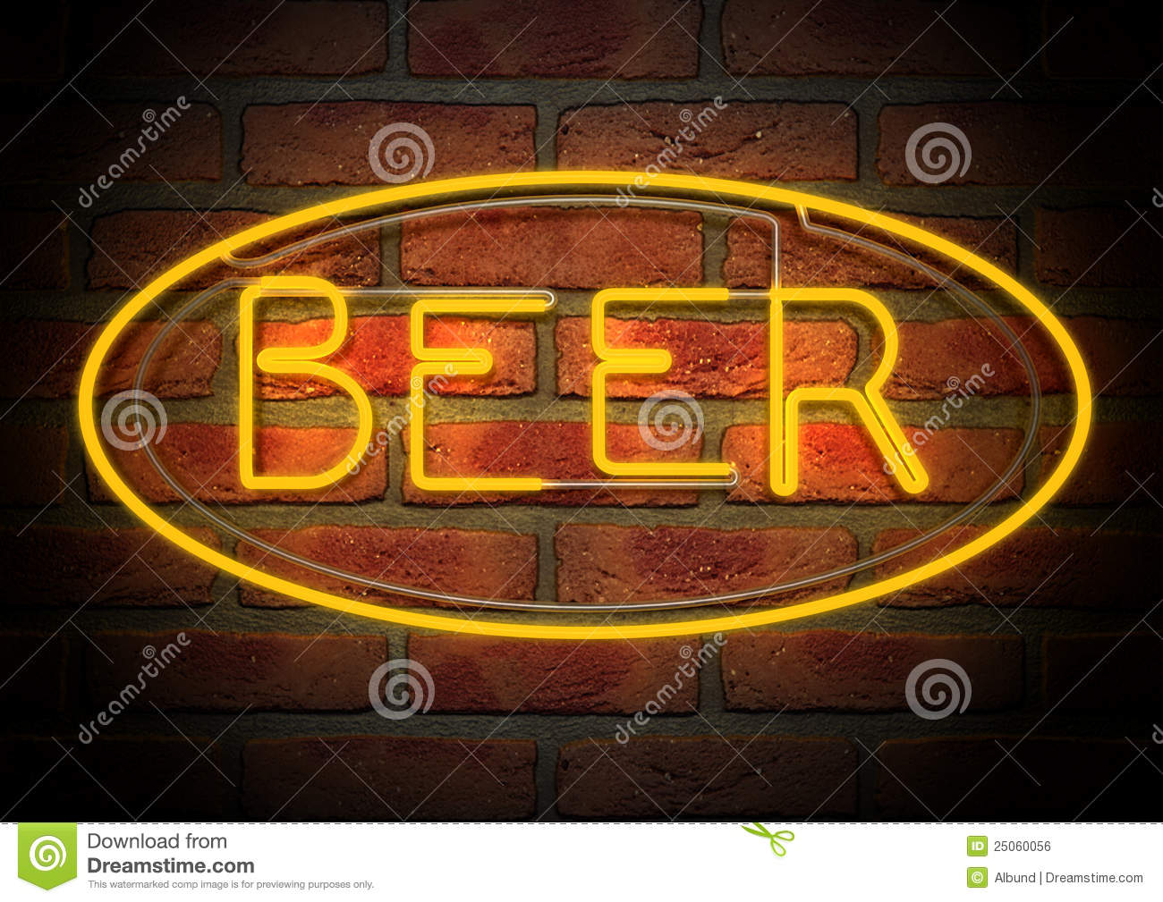 Neon Beer Sign On A Face Brick Wall Royalty Free Stock