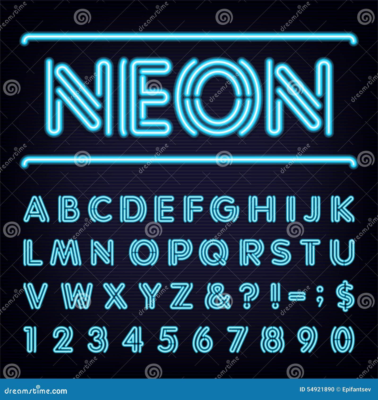 Neon Blue Light Alphabet Vector Font  Stock Vector