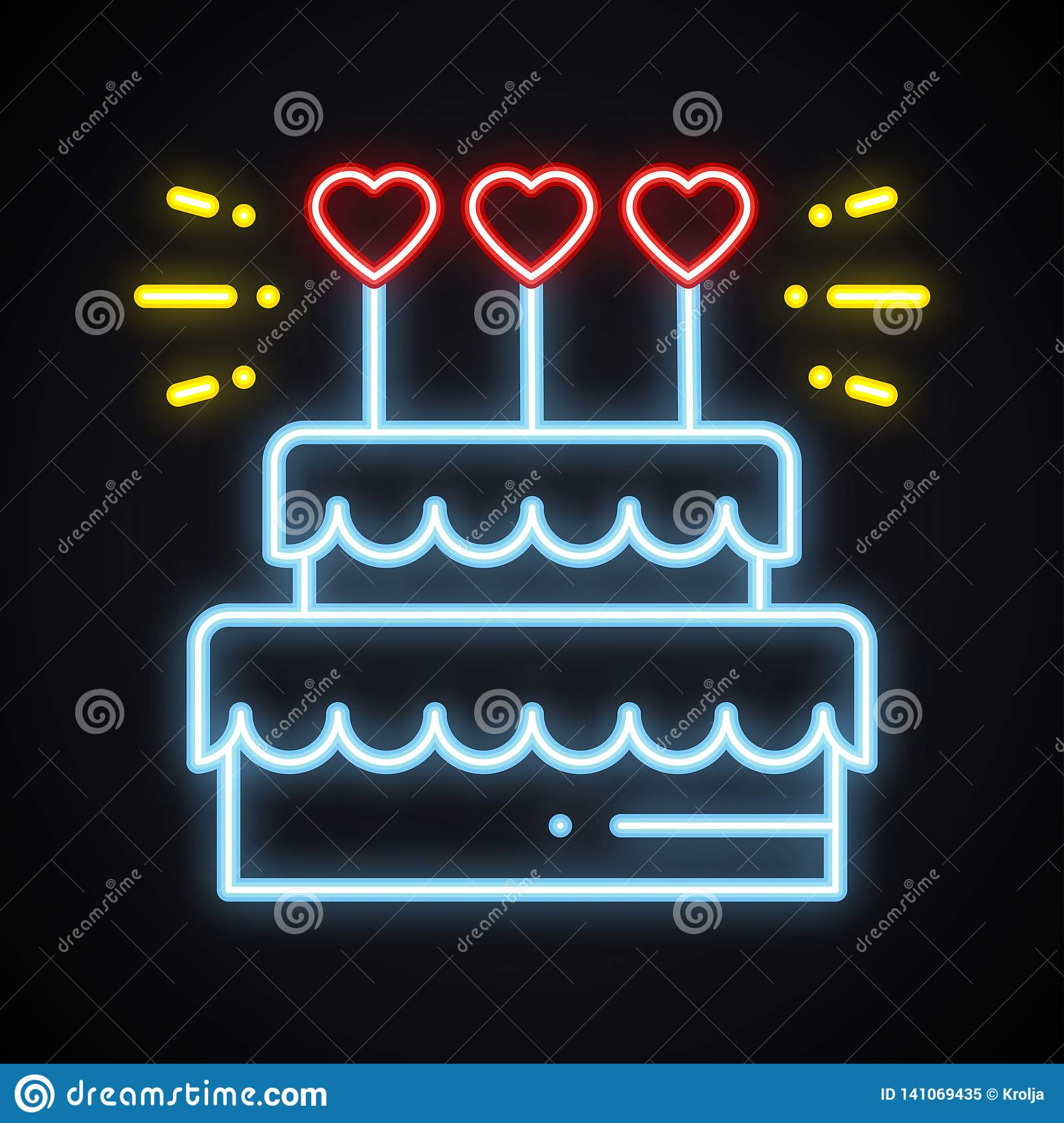 Strange Neon Cake Sign With Heart Candles Light Sweets Pie Dessert Birthday Cards Printable Giouspongecafe Filternl