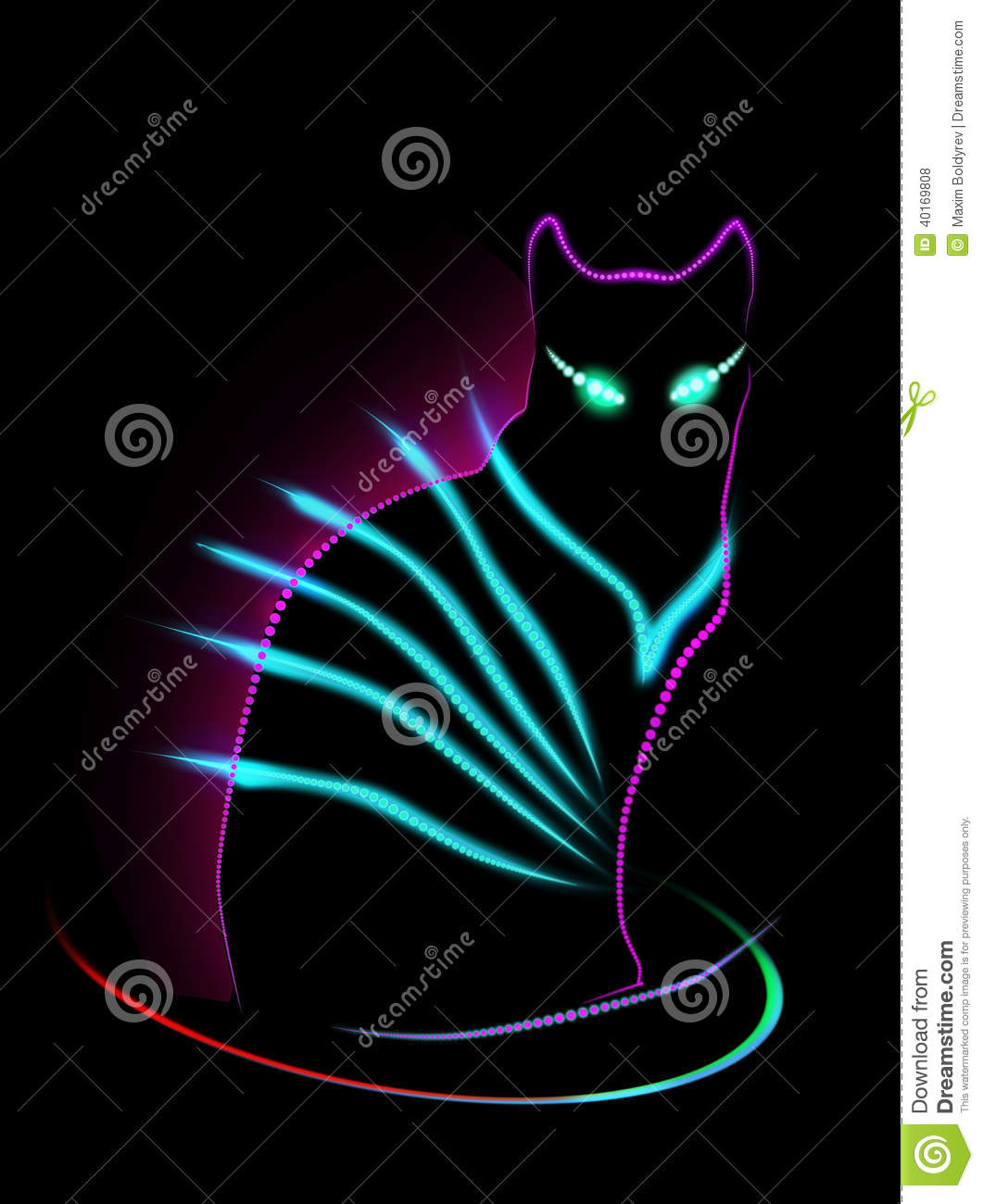 Neon Cat Stock Illustration Illustration Of Wallpaper 40169808