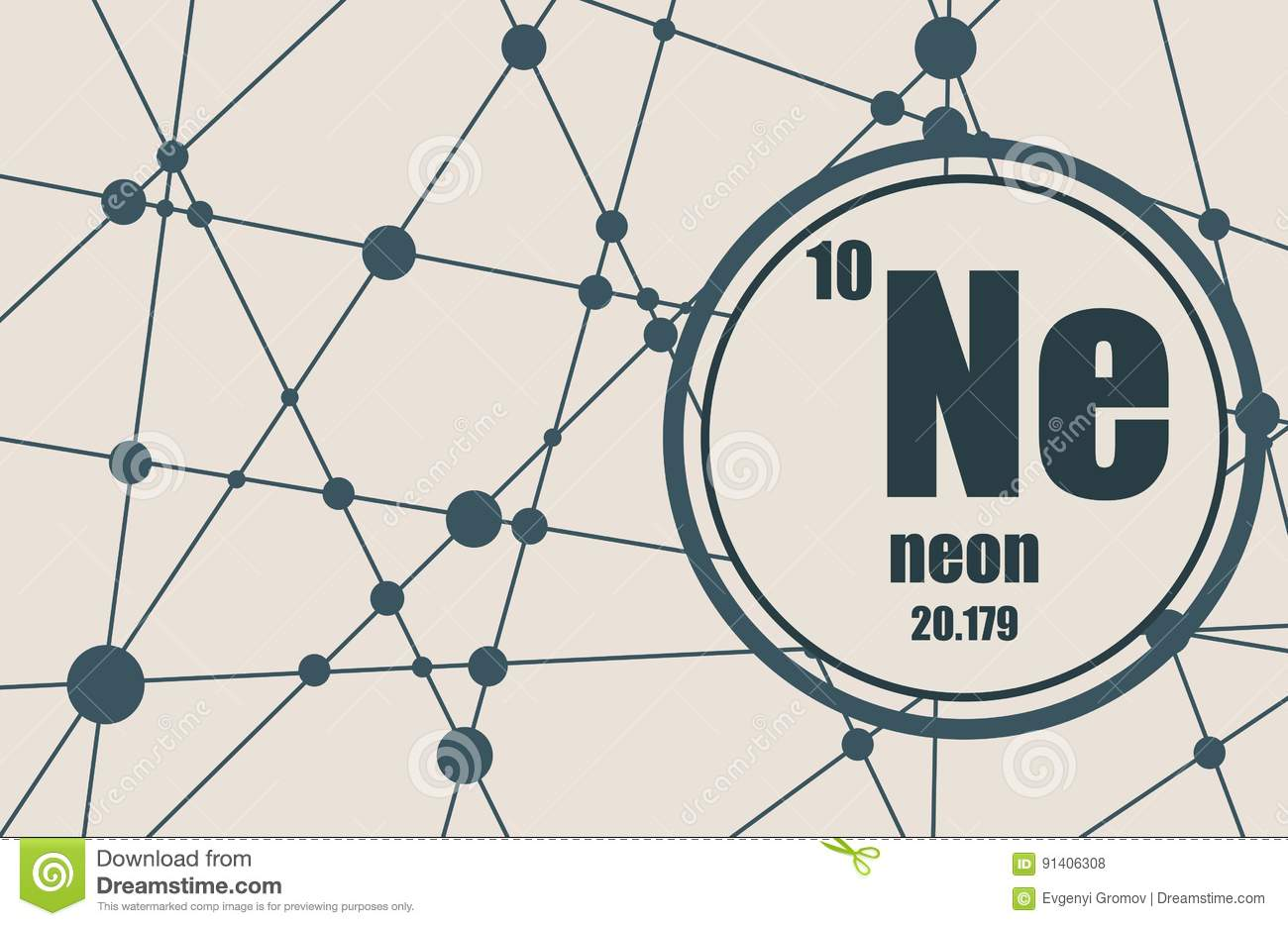 Neon chemical element stock vector image of molecule 91406308 neon chemical element gamestrikefo Images