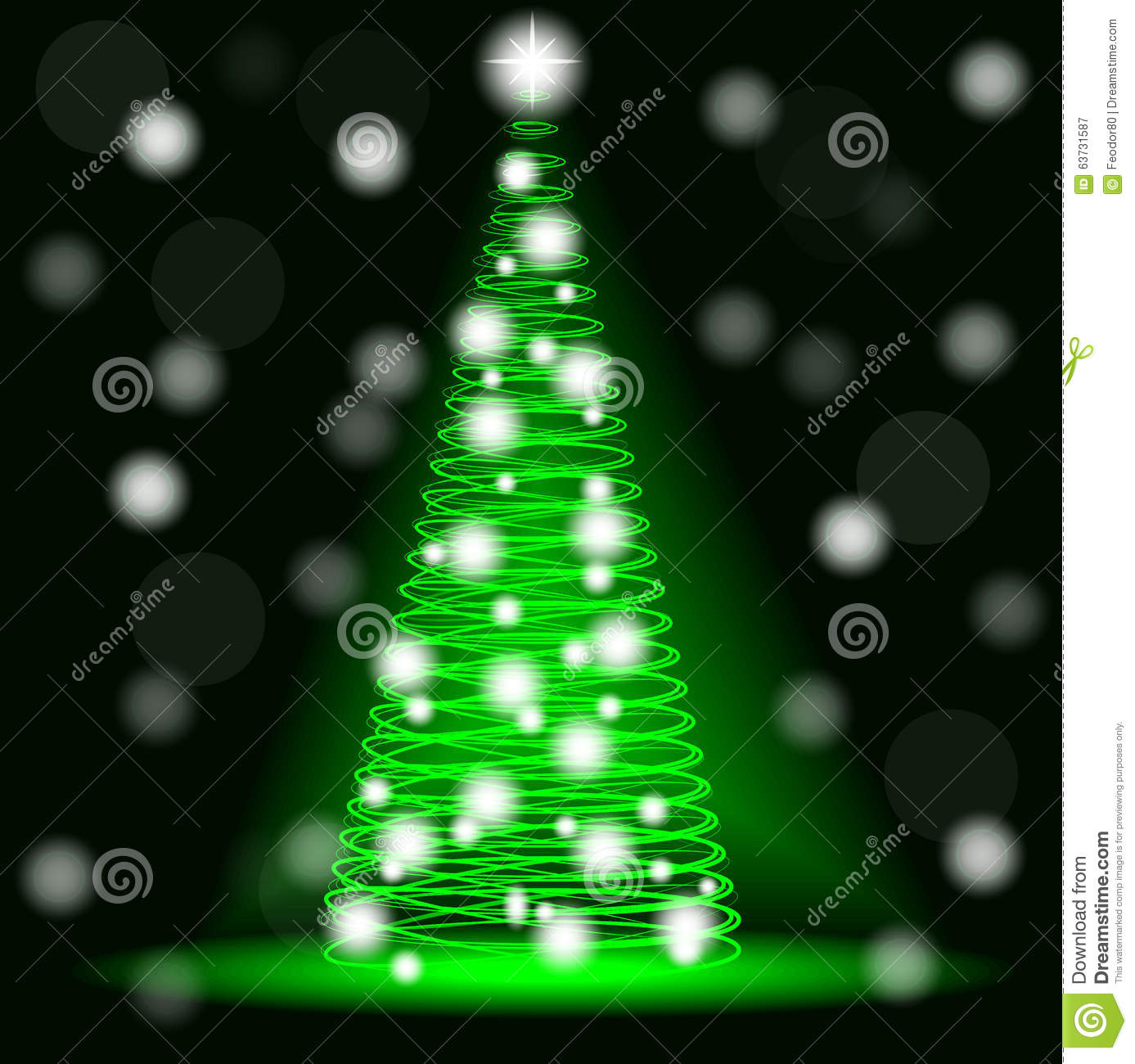 Christmas background neon Christmas tree from spirals.