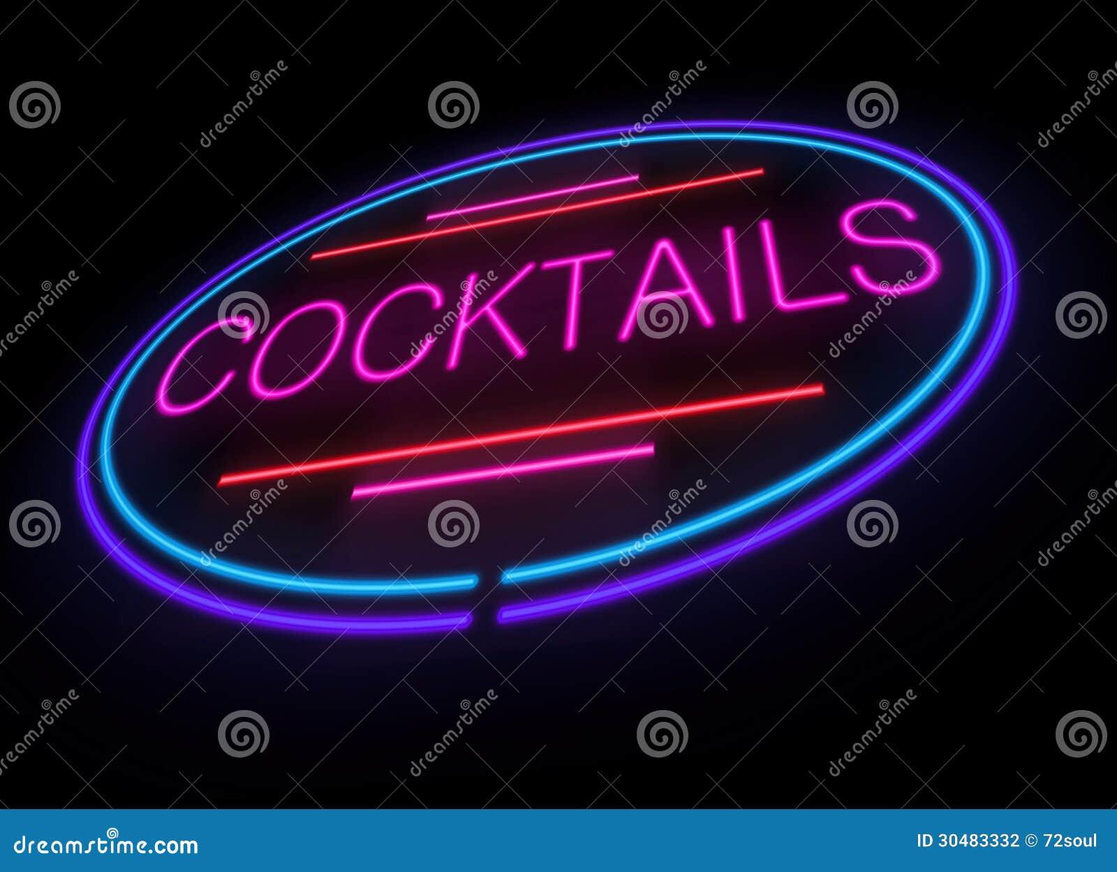 Neon cocktails sign. stock illustration. Illustration of