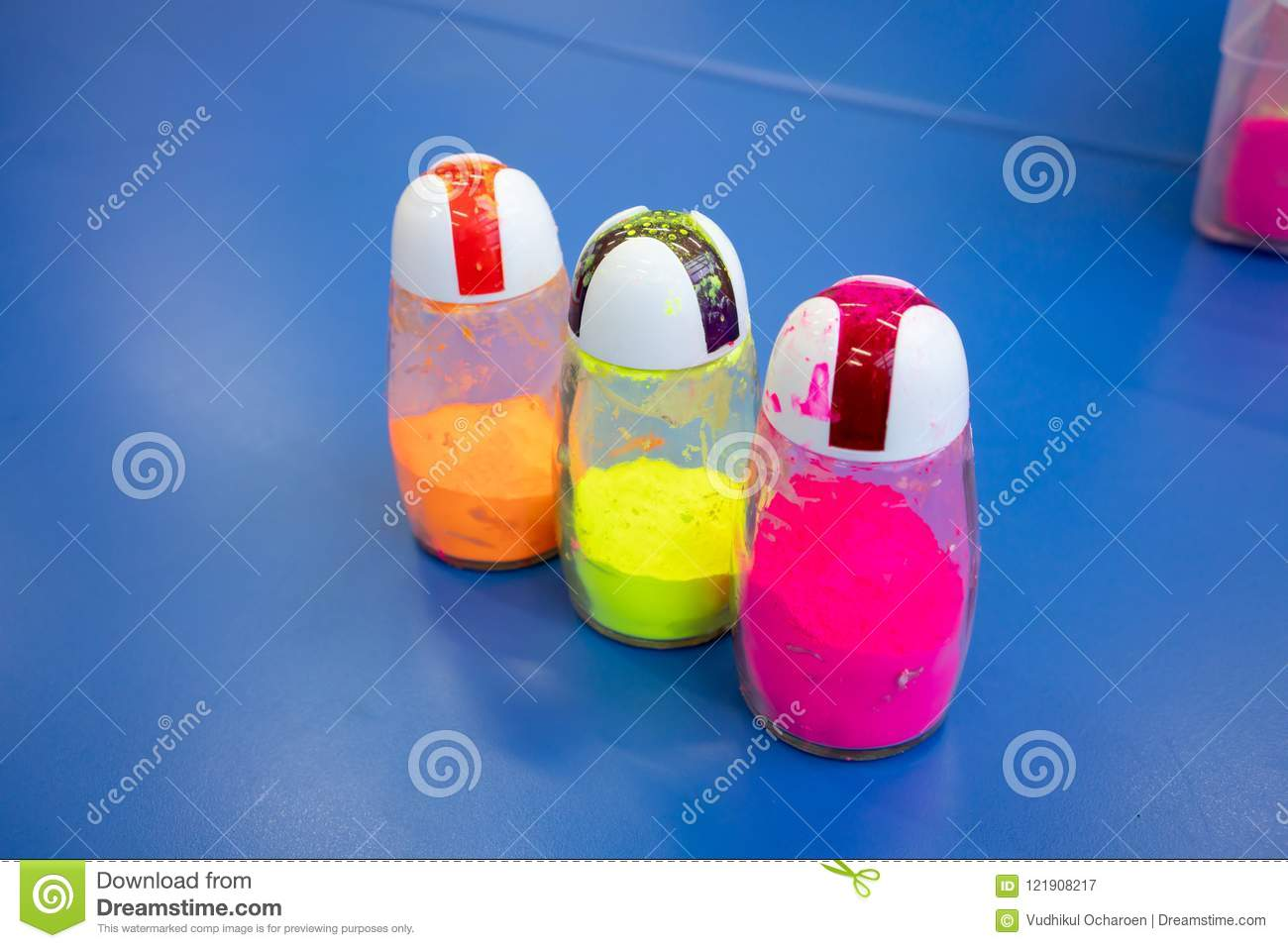 Neon Color Powder In Salt And Pepper Shaker For Art And Craft Stock