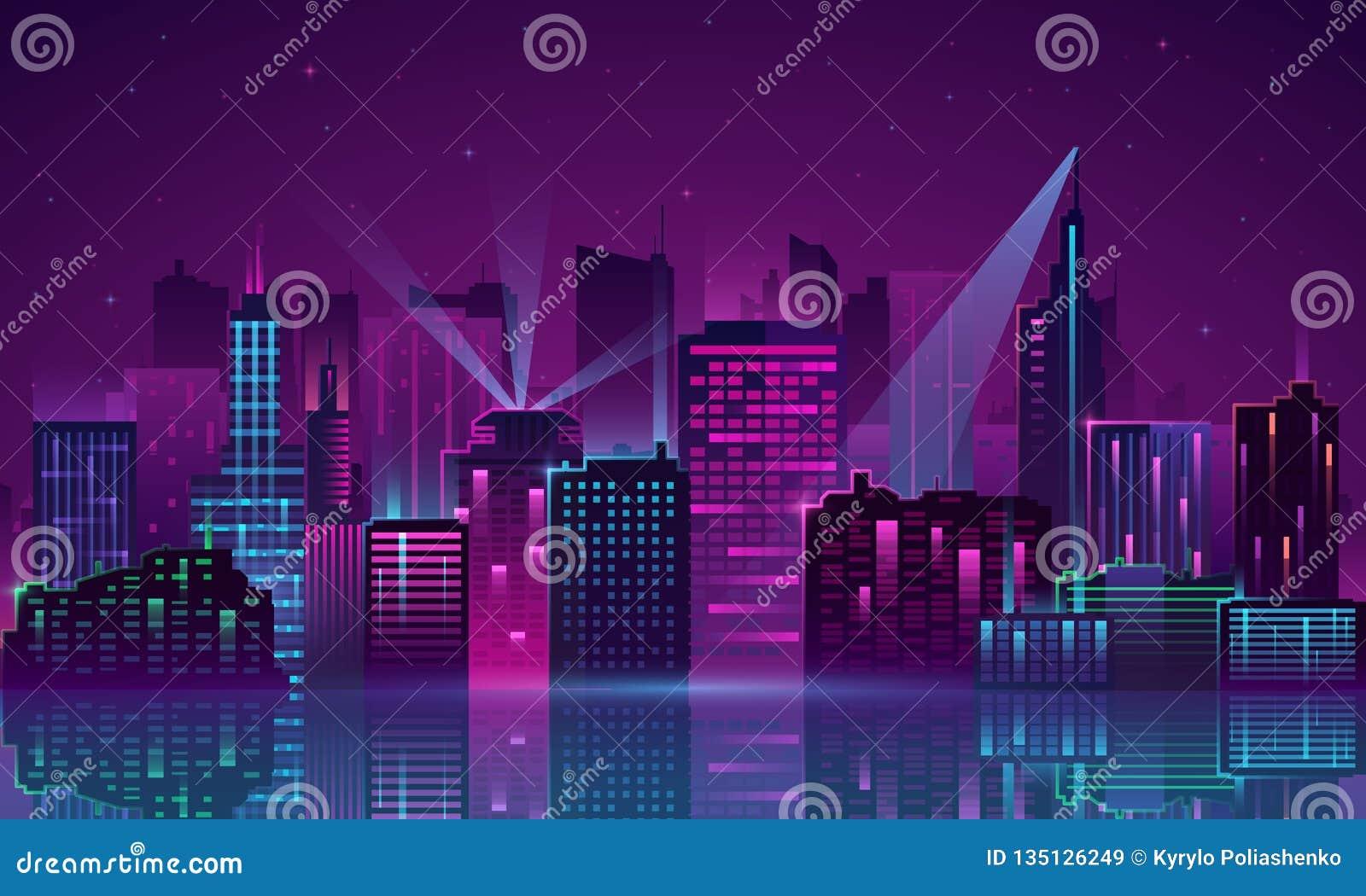 Neon della città di vettore