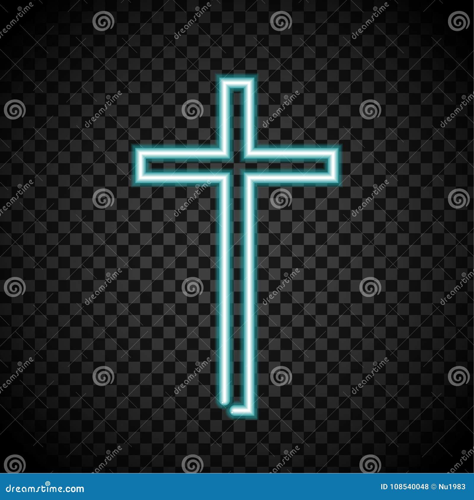 Neon dwars, gloeiend kruis, godsdienst, Christendom, de kruisen van Jesus