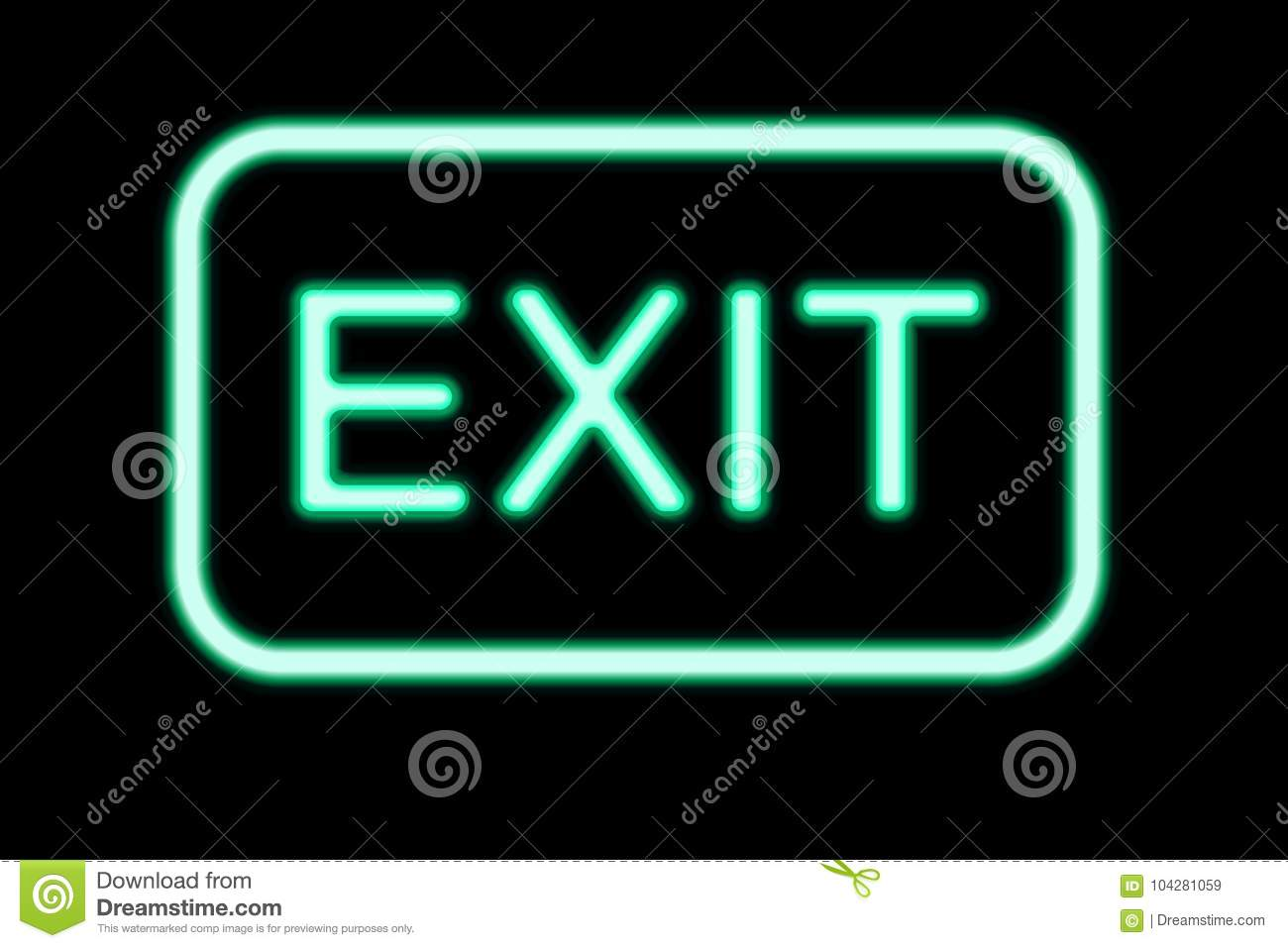 Neon Exit Signs Nicor Sign Wiring Diagram Isolated On Black Background Stock Vector 1300x957