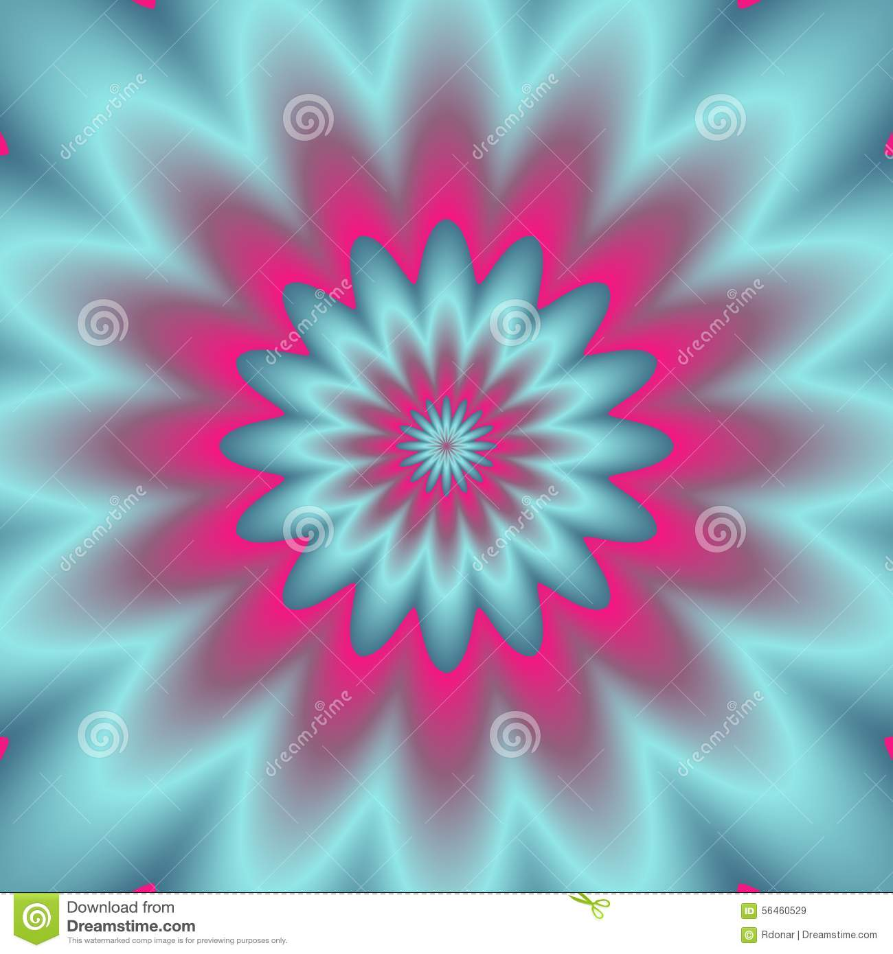Neon Explosion Digital Abstract Image Psychedelic Flower Design Blue Green Pink Colors Extended Background Vector Stock