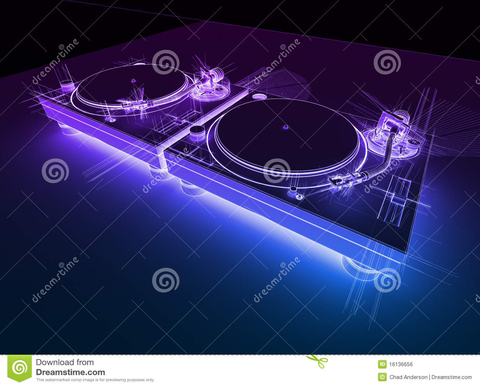 Neon för 3d dj skissar turntables