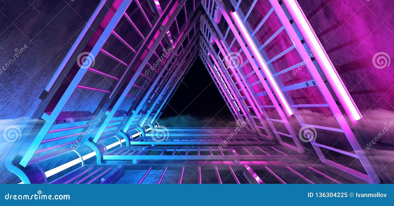 Neon för Sci Fi korridor för tunnel för futuristiskt rökdimma glödande purpurfärgad blå triangel formad med det vibrerande metall
