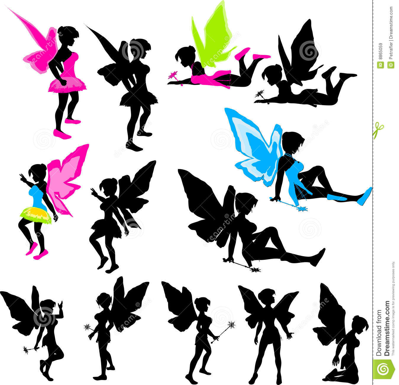 Neon Fairy Silhouettes Royalty Free Stock Images Image